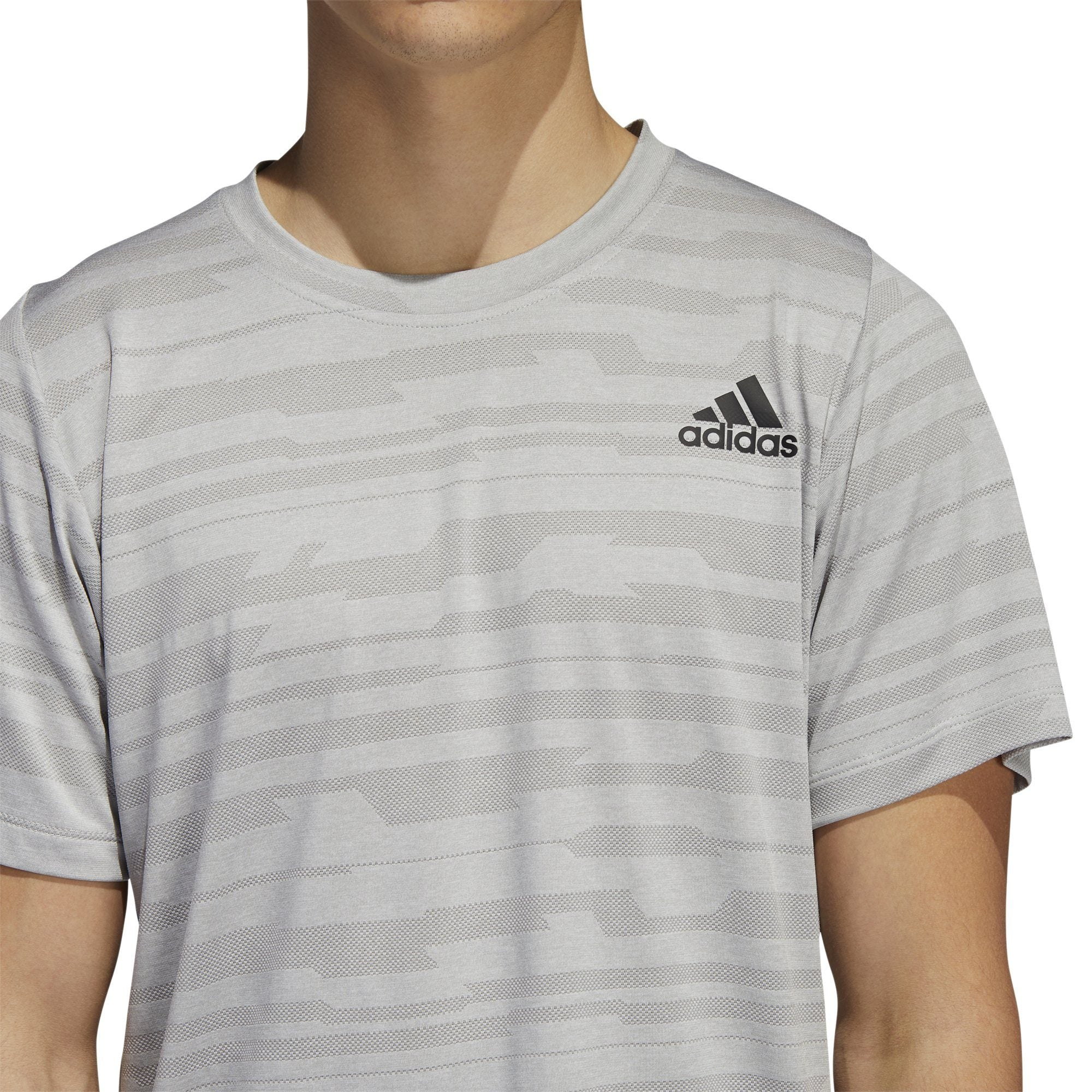 Adidas Mens FreeLift Engineered Heather Tee - mgh solid grey SP-ApparelTees-Mens Adidas