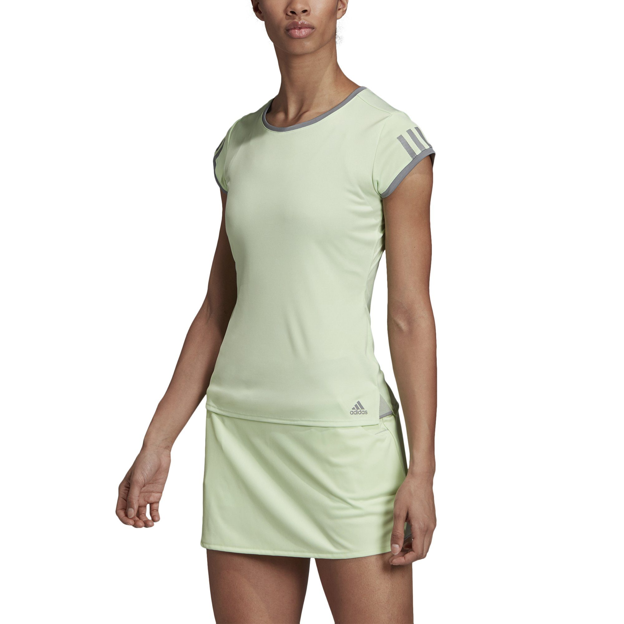 Adidas Womens 3-Stripes Club Tee - glow green SP-APPARELTEES-WOMENS Adidas