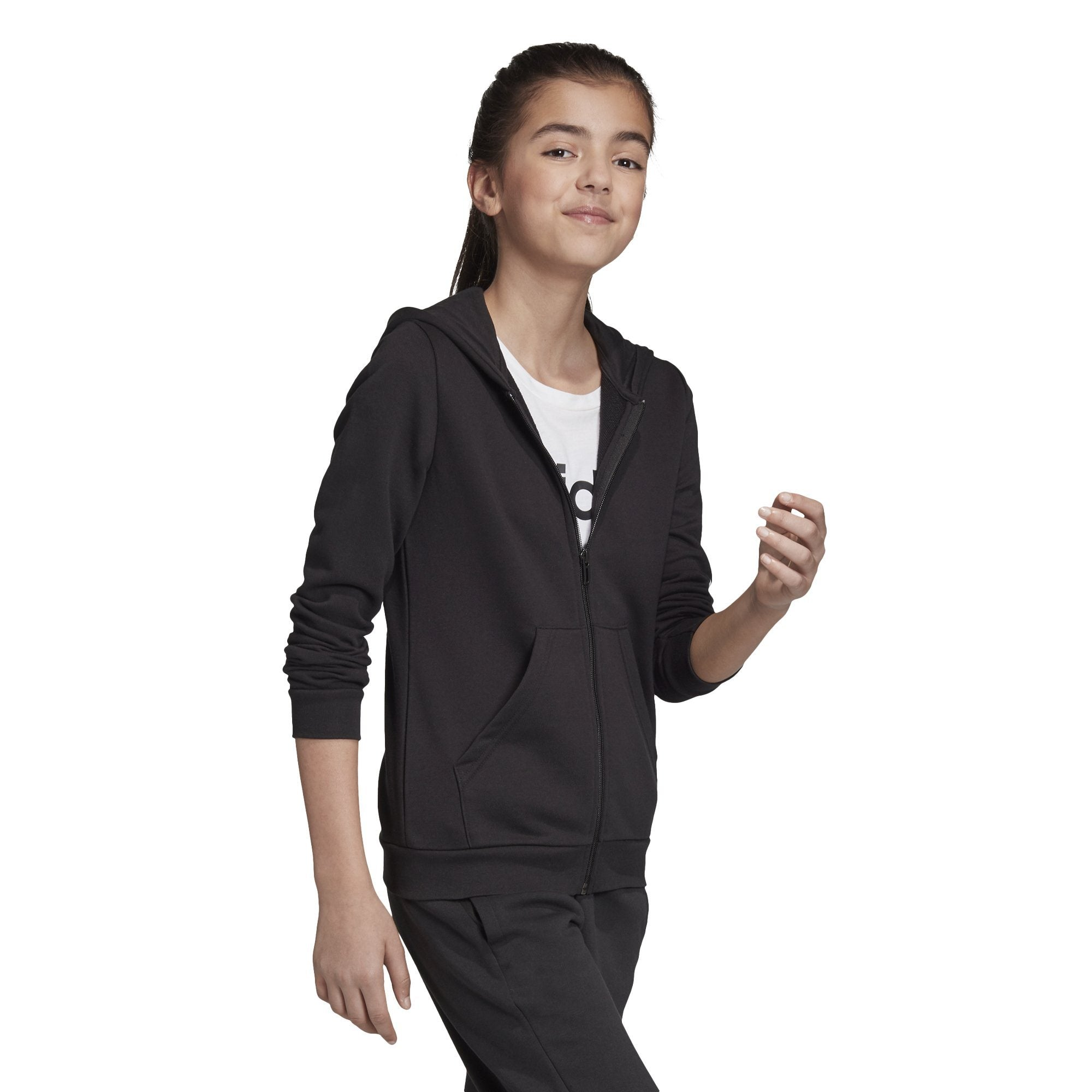 Adidas Girls Essentials Linear Full Zip Hoodie - Black/White SP-ApparelFleece-KidsGirls Adidas