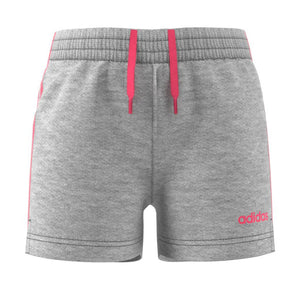 Adidas Essentials 3S Short - Medium Grey Heather/Real Pink S18 SP-ApparelShorts-KidsGirls Adidas