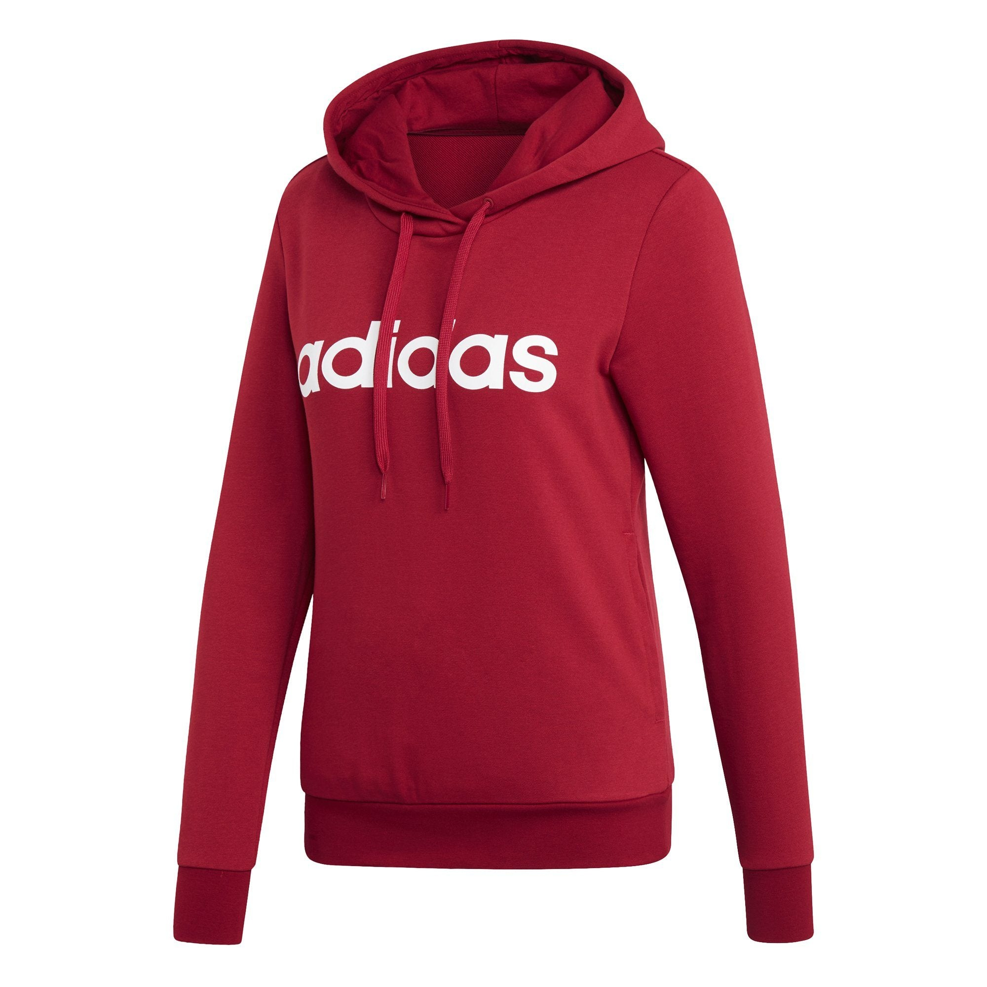 Adidas Womens Essentials Linear Pullover Hoodie - active maroon-white Womens Apparel Adidas