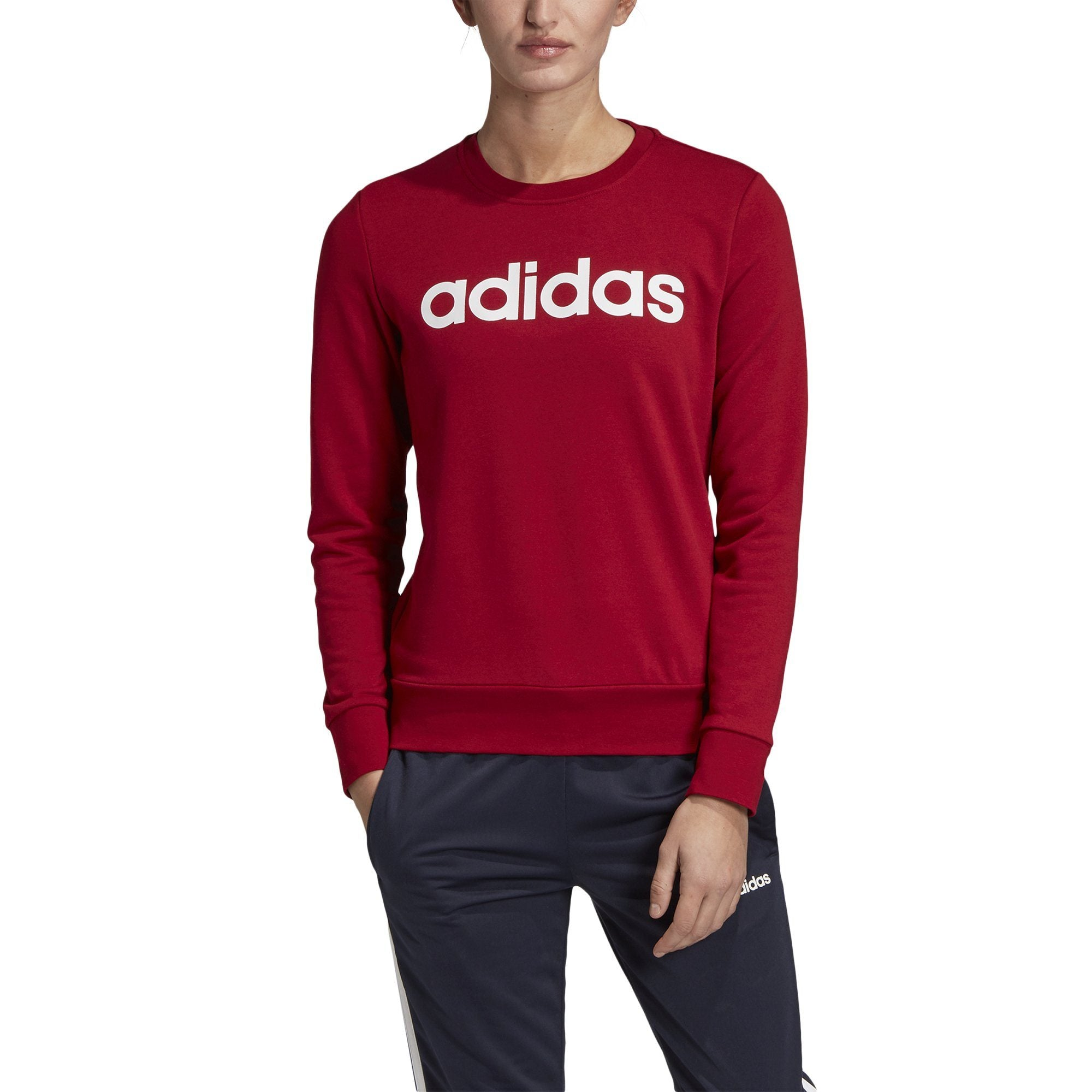 Adidas Womens Essentials Linear Sweatshirt - active maroon-white Womens Apparel Adidas
