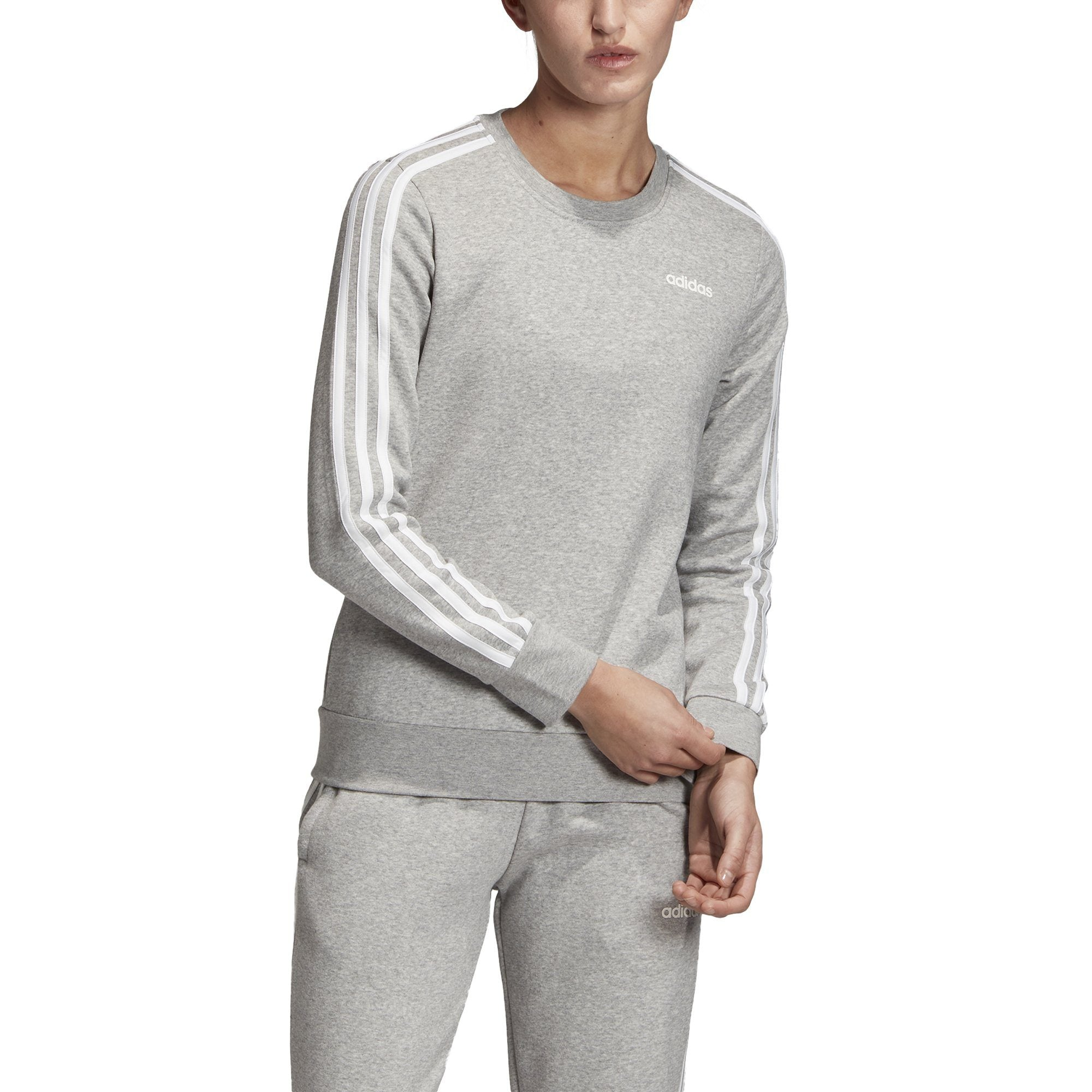 Adidas Womens Essentials 3-Stripes Sweatshirt - Medium Grey Heather/White SP-ApparelFleece-Womens Adidas
