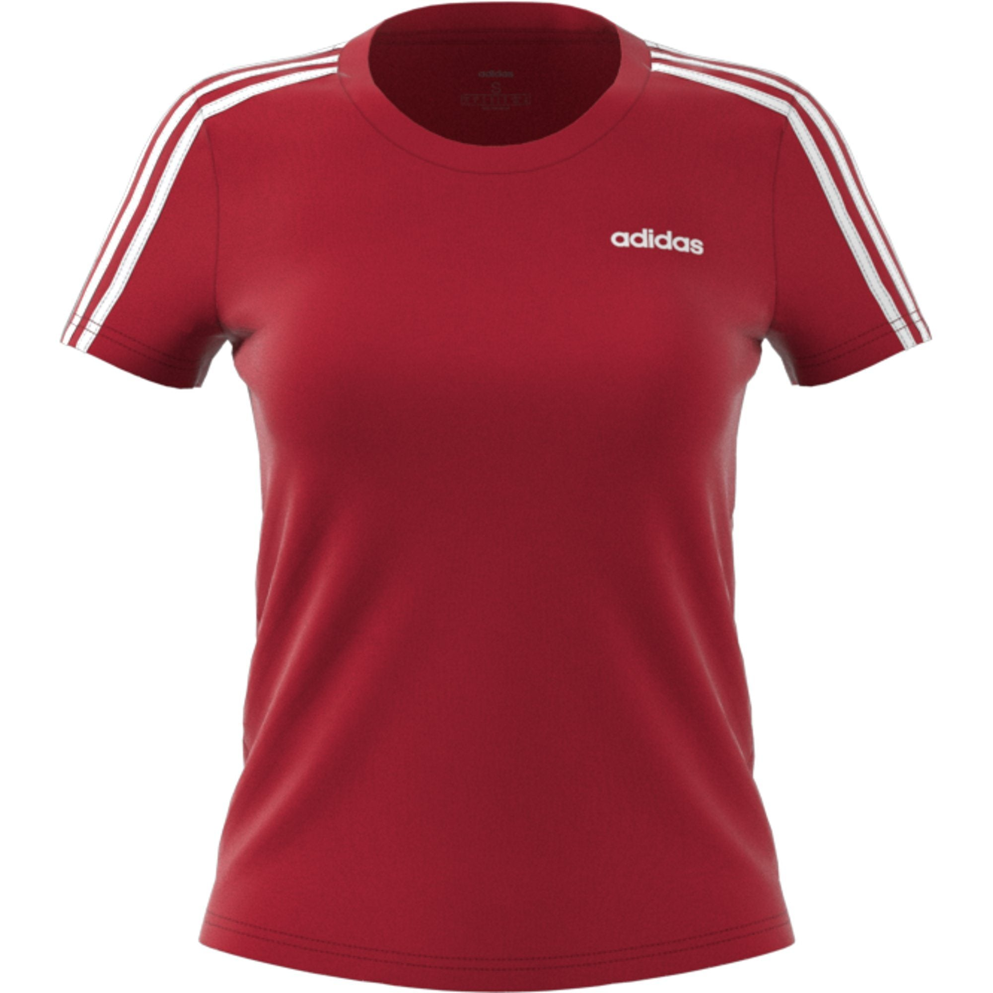 Adidas Womens Essentials 3-Stripes Tee - active maroon-white Womens Apparel Adidas