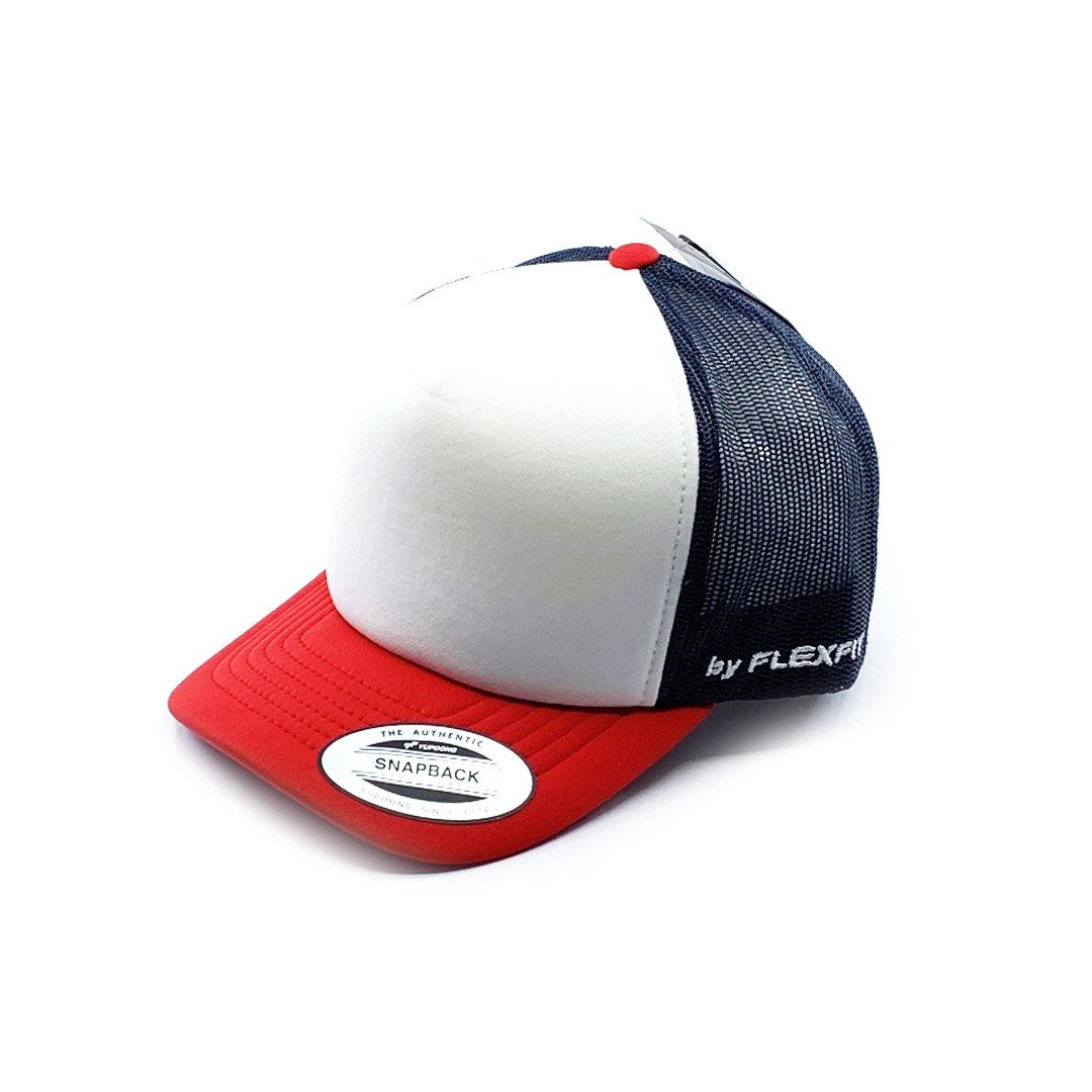 Flexfit Hi Crown Trucker Youth - Navy/Red SP-Headwear-Caps Flexfit