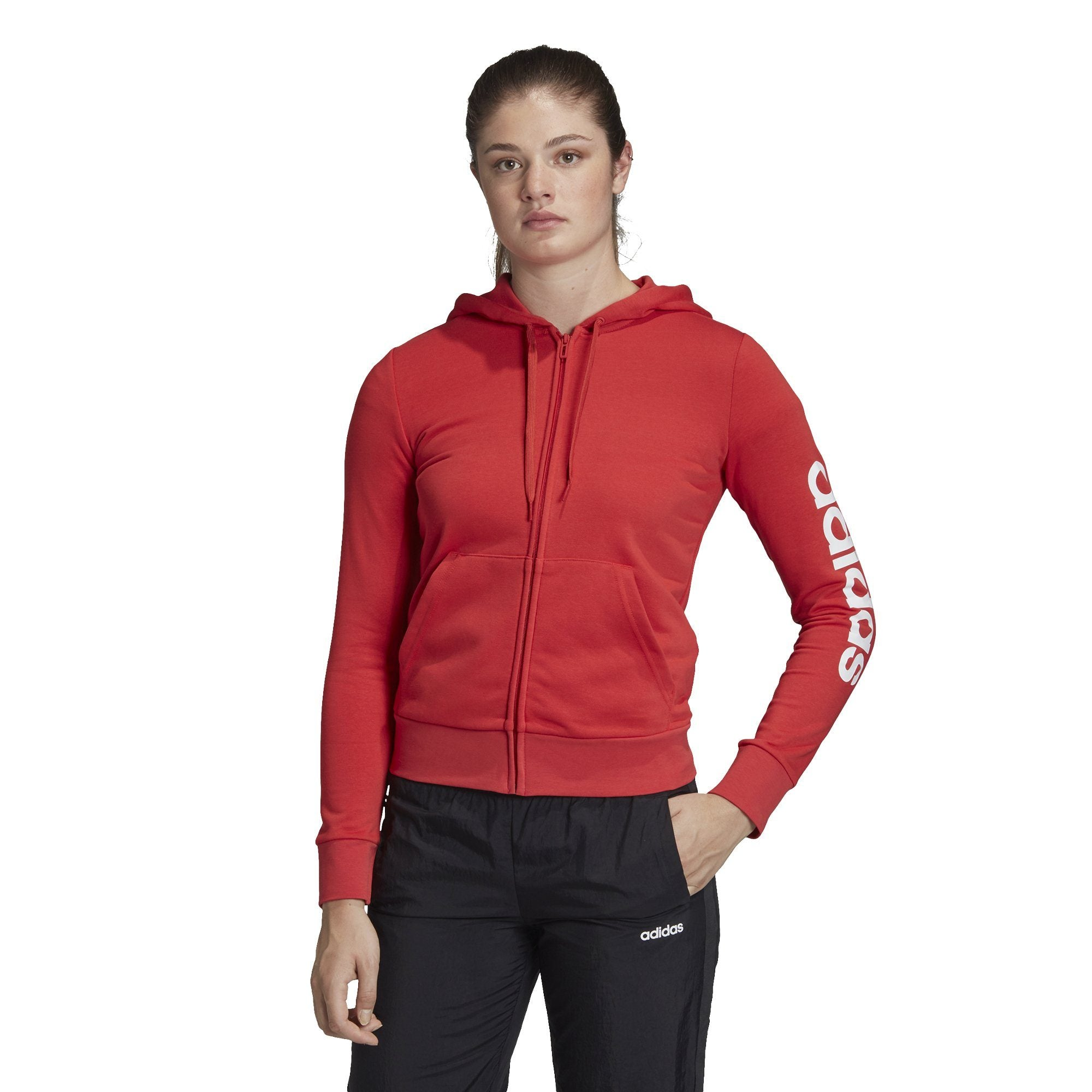 Adidas Womens Essentials Linear Full Zip Hoodie - glory red