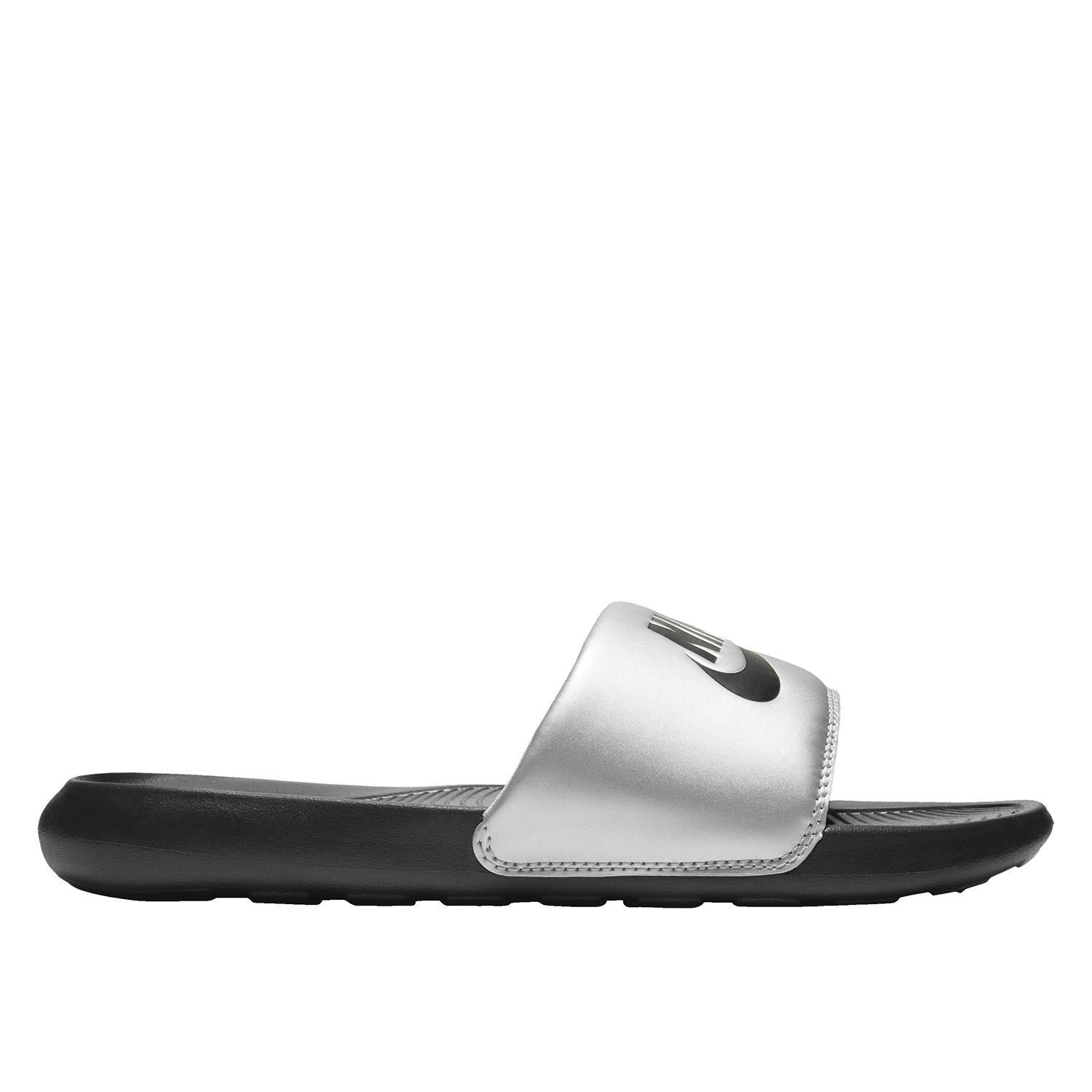 Nike Victori One Slides - Black/Black-Metallic Silver SP-Footwear-Slides Nike