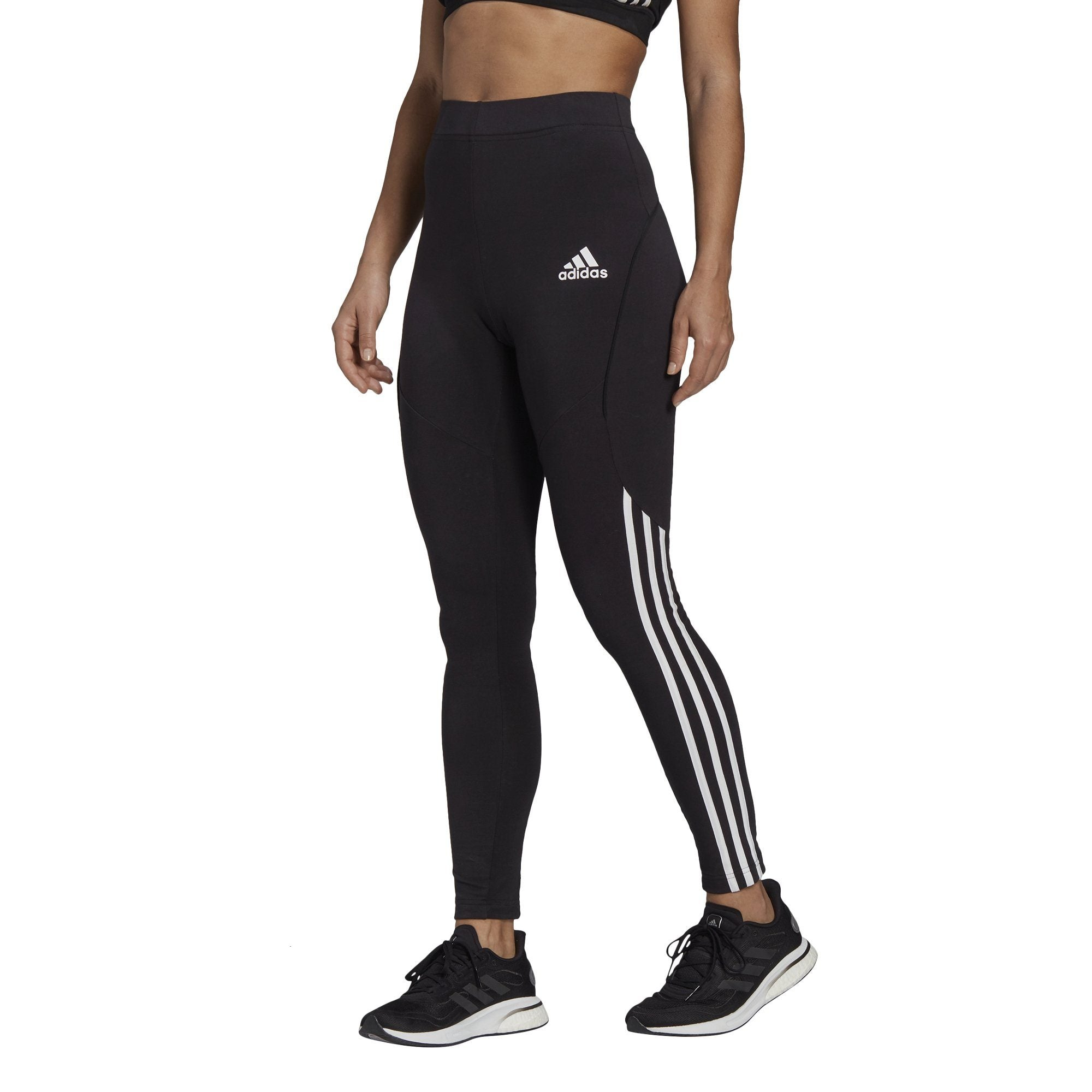 Adidas Womens Sportswear Colourblocked Cotton Tights - Black SP-ApparelTights-Womens Adidas