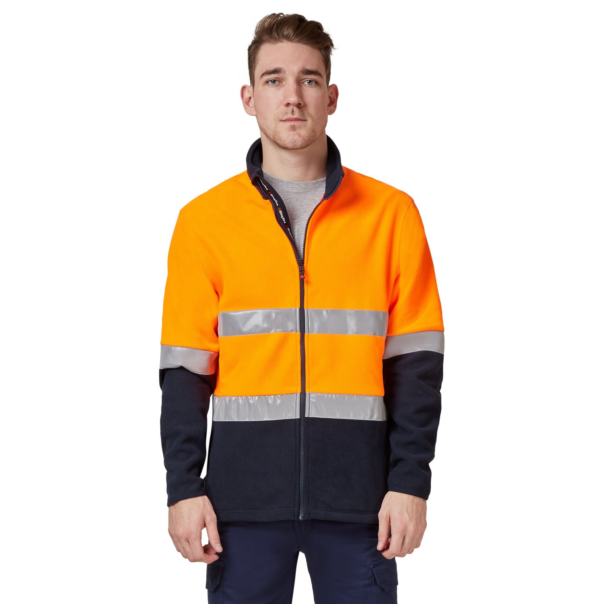 King Gee Reflective Full Zip Spliced Hi Vis Fleece - Orange/Navy Workwear Isbister & Co Wholesale