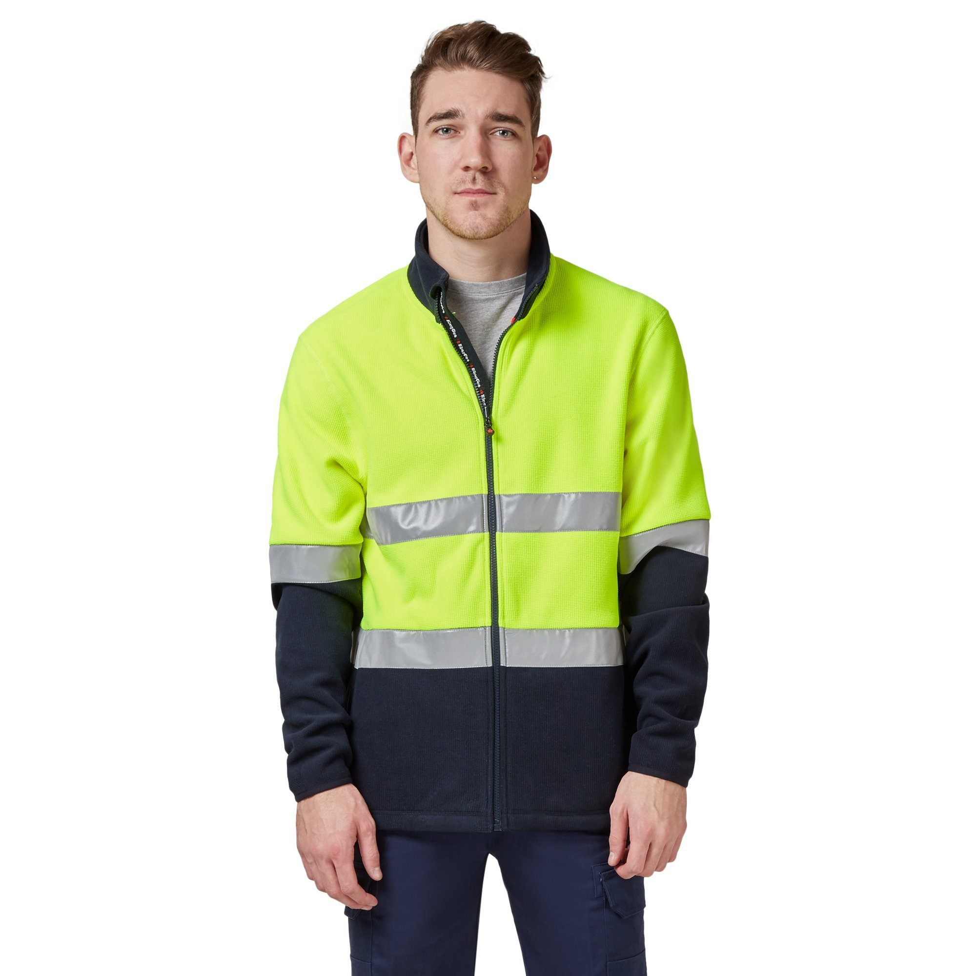 King Gee Reflective Full Zip Spliced Hi Vis Fleece - Yellow/Navy Workwear Isbister & Co Wholesale