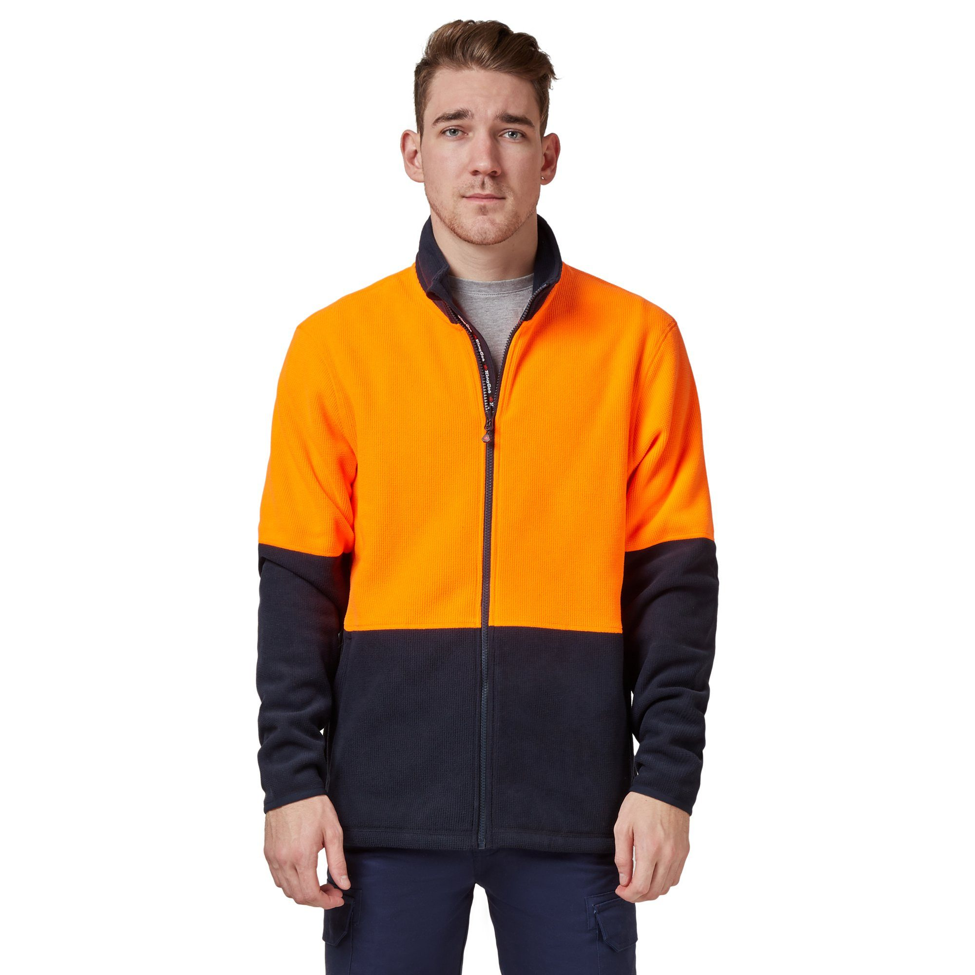 King Gee Full Zip Spliced Hi Vis Fleece - Orange/Navy Workwear Isbister & Co Wholesale