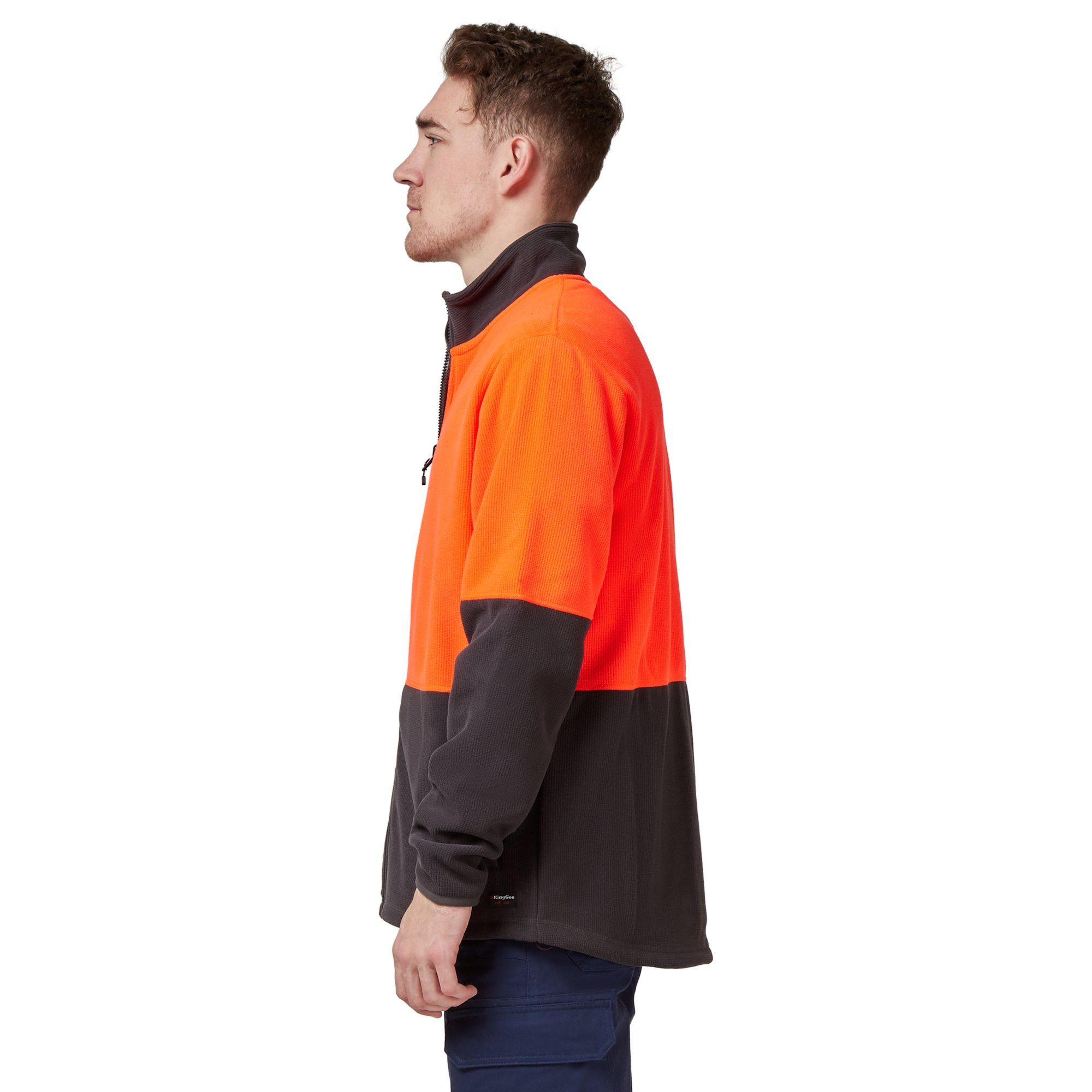 King Gee Full Zip Spliced Hi Vis Fleece - Red/Charcoal Workwear Isbister & Co Wholesale
