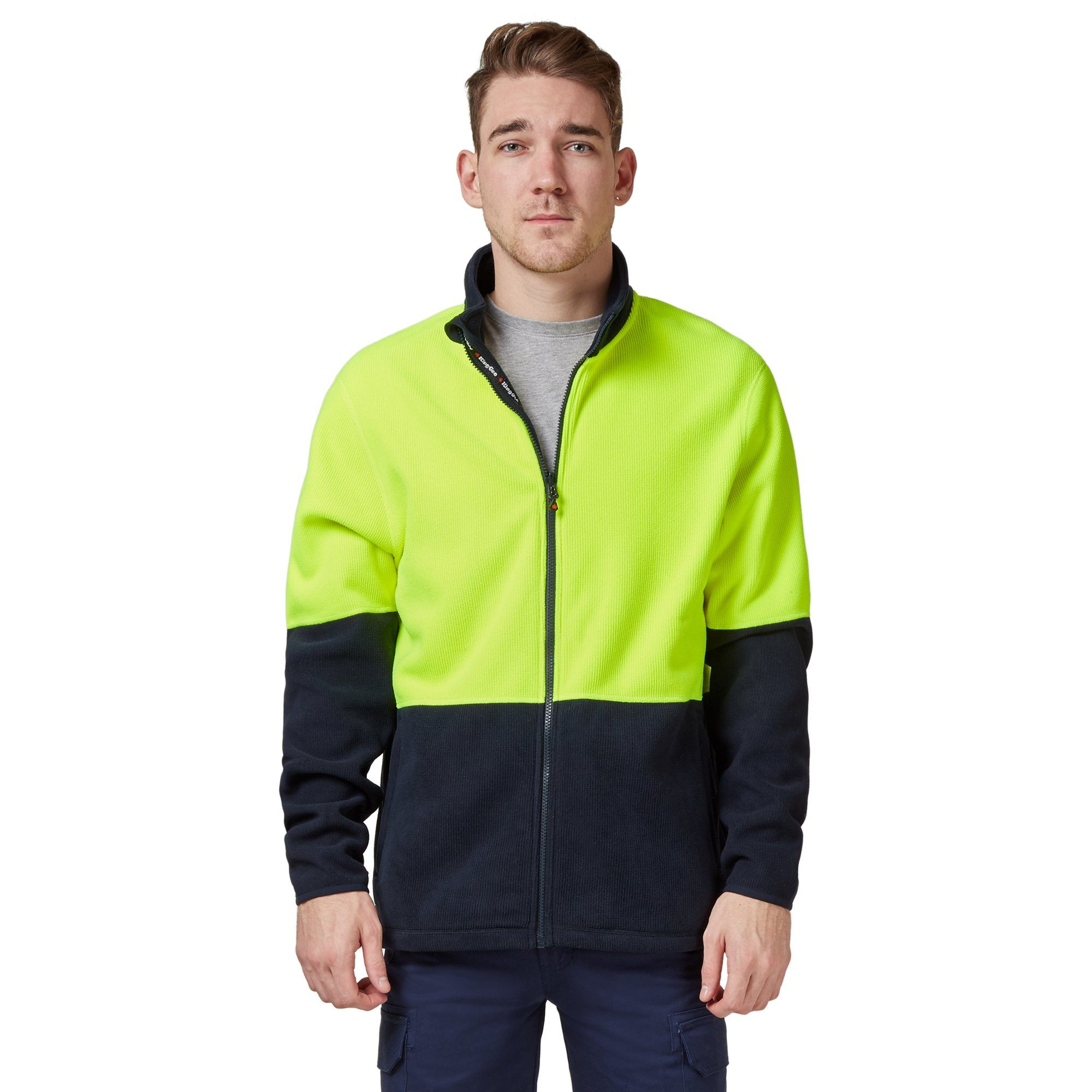 King Gee Full Zip Spliced Hi Vis Fleece - Yellow/Navy Workwear Isbister & Co Wholesale