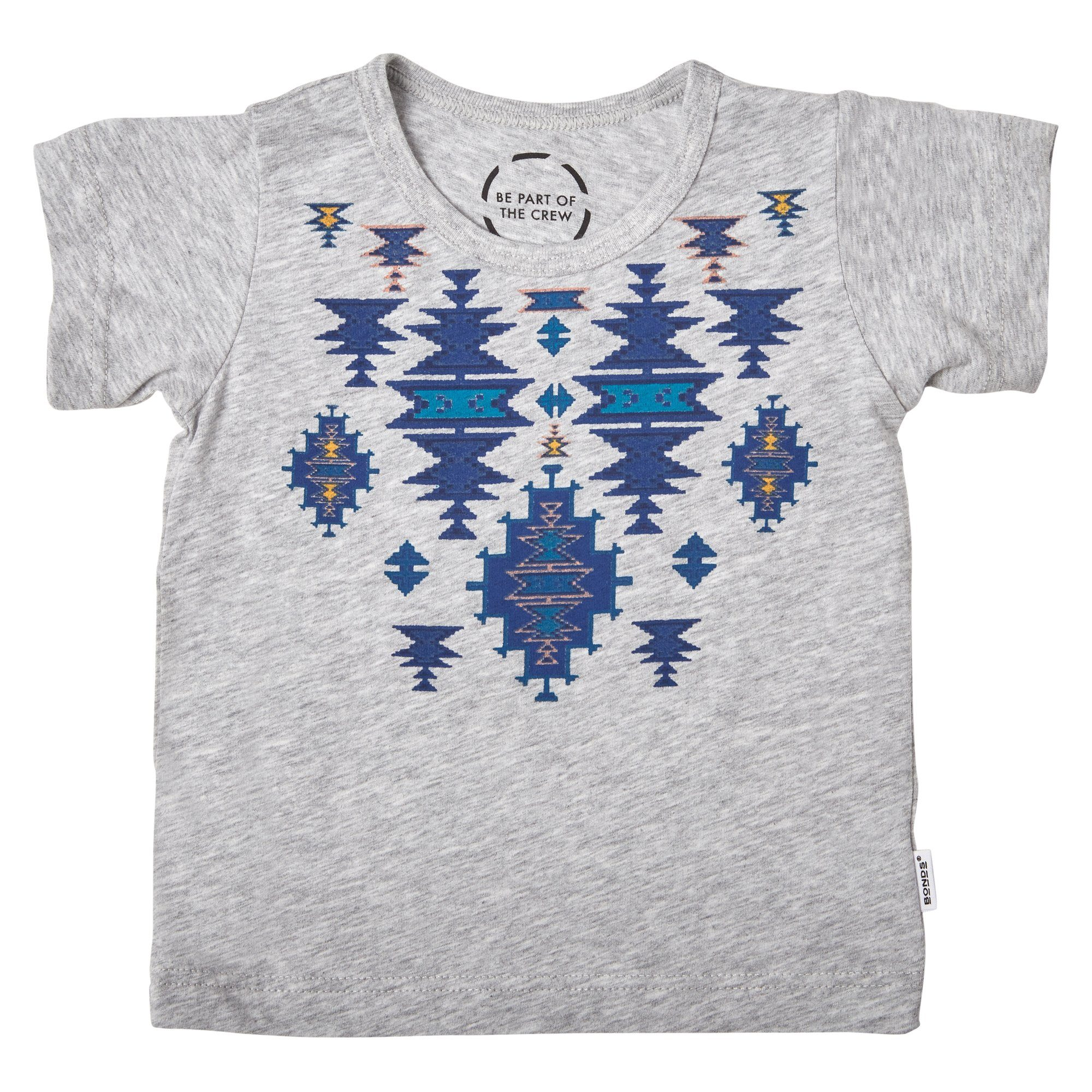 Bonds Baby The Crew Tee Aztec Print Grey Baby Isbister & Co Wholesale