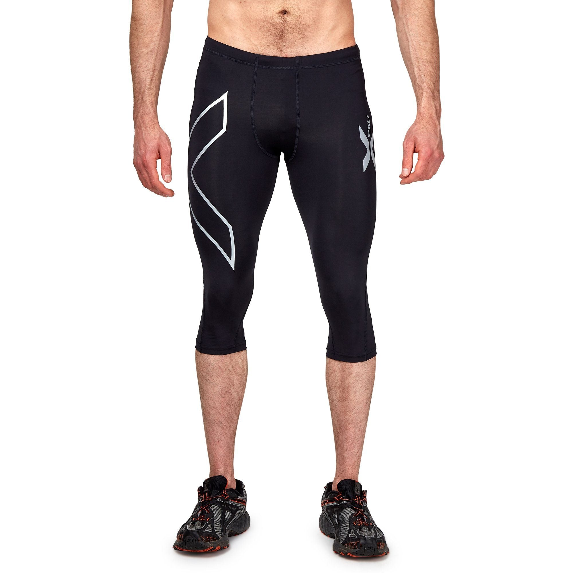 2XU Men's Compression 3/4 Tights - Black/Black Apparel 2XU