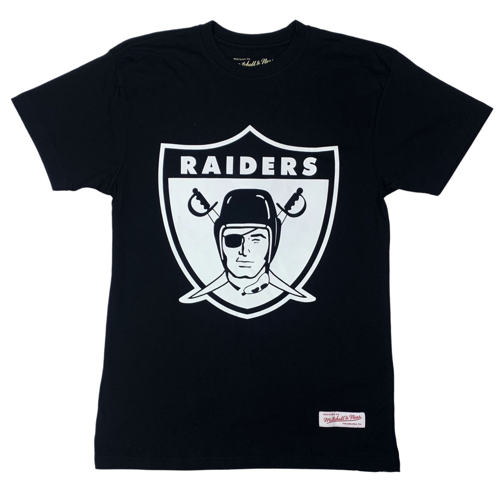 Mitchell & Ness OAKLAND RAIDERS Team Logo Tee - Black SP-ApparelTees-Mens Mitchell & Ness