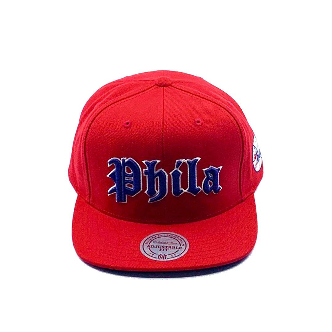 Mitchell & Ness Old English Faded Snapback - Philadelphia 76Ers (Red) SP-Headwear-Caps Mitchell & Ness