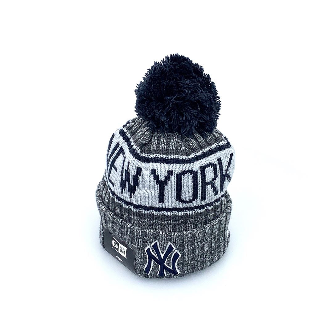 New Era Youth Knit Beanie Q220 Off Marle - New York Yankees SP-Headwear-Beanies New Era