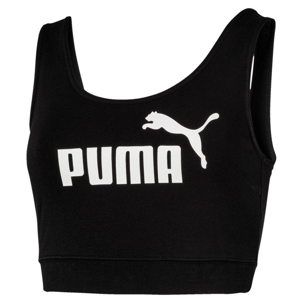 Puma Womens Essential Logo Crop Top - Cotton Black SP-ApparelSportsBras Puma