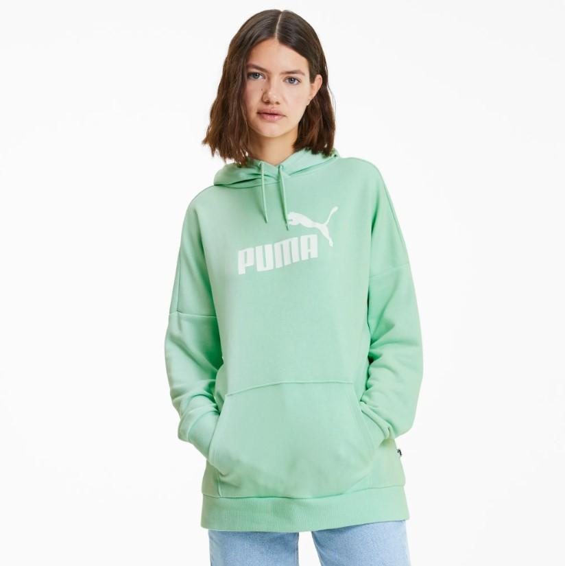 Puma Womens Essentials Elongated Hoodie - Mist Green SP-ApparelFleece-Womens Puma