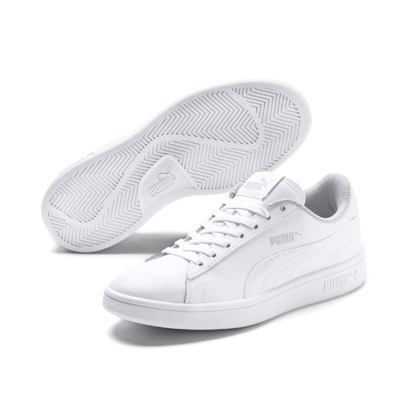 Puma Smash v2 Leather Junior - Puma White-Puma White SP-Footwear-Kids Puma