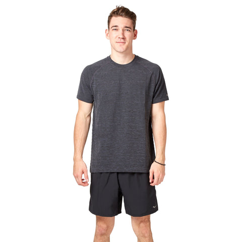 Saucony Dash Seamless Short Sleeve Tee - Dark Grey/Heather Apparel Saucony