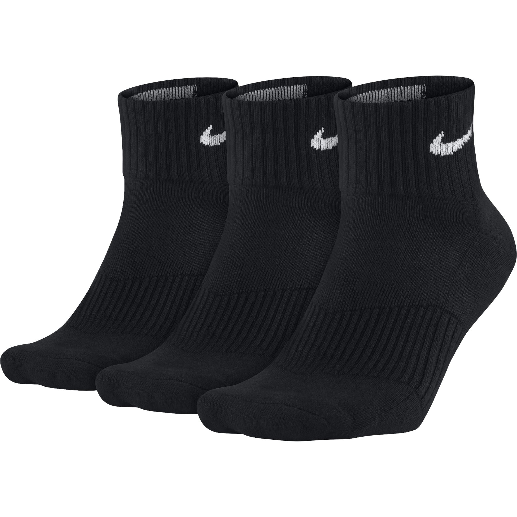 Nike Perfect Cushion Quarter Training Sock (3 Pair) - Black/White Q3NIKE Nike