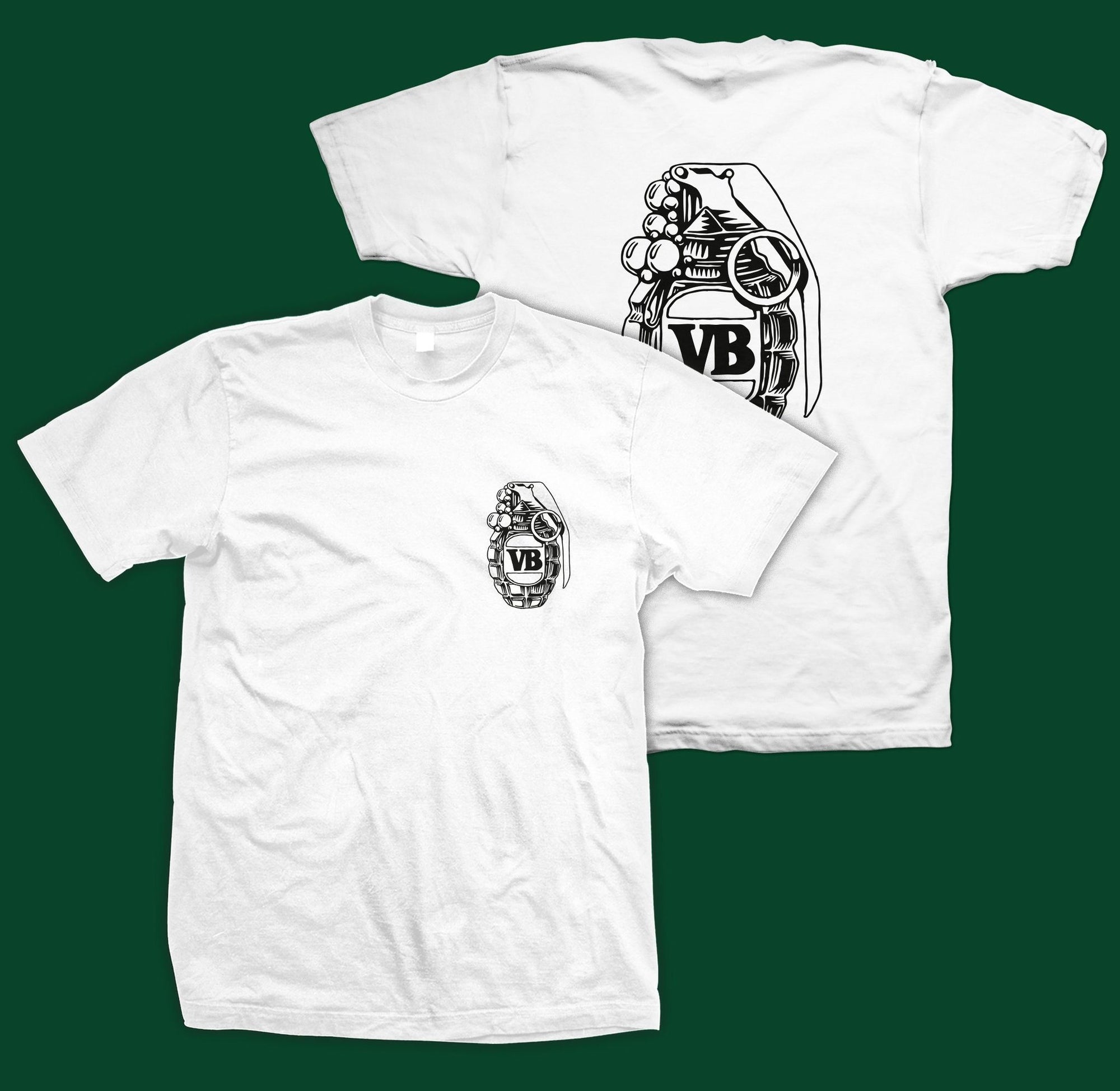 Victor Bravos Green Grenade T-Shirt - Black on White SP-ApparelTees-Mens Victor Bravo's