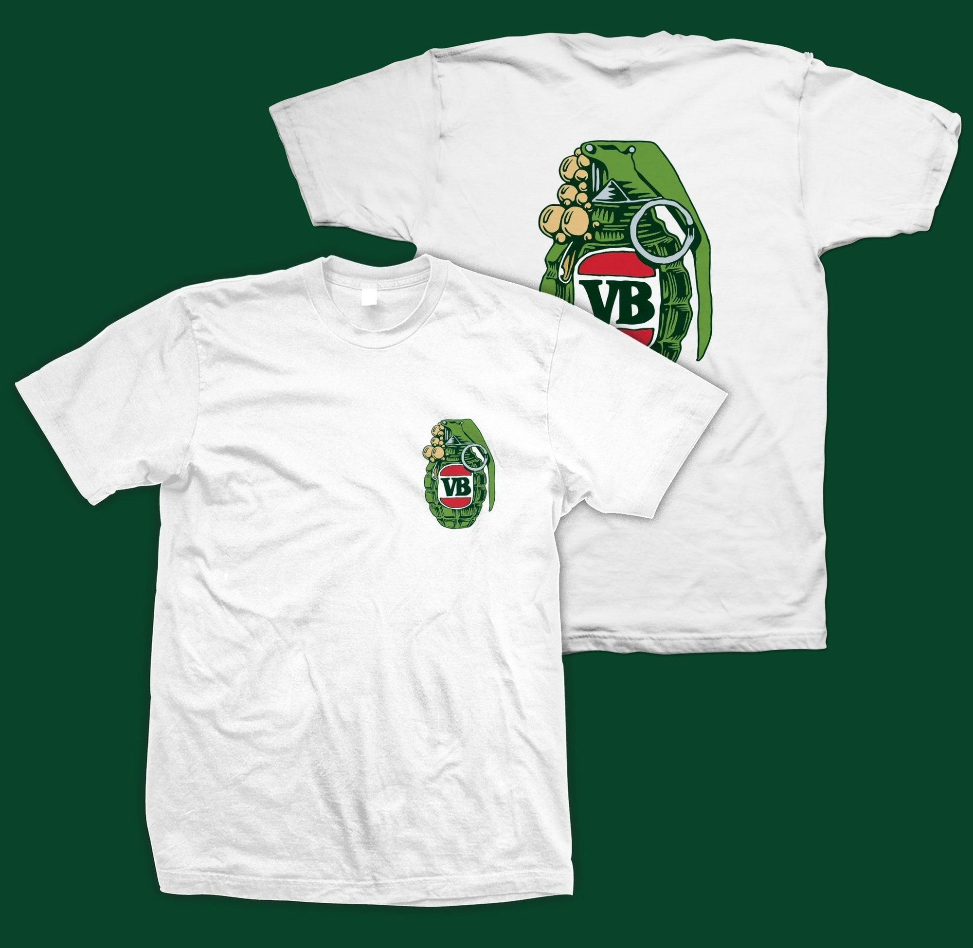 Victor Bravos Green Grenade T-Shirt - White SP-ApparelTees-Mens Victor Bravo's
