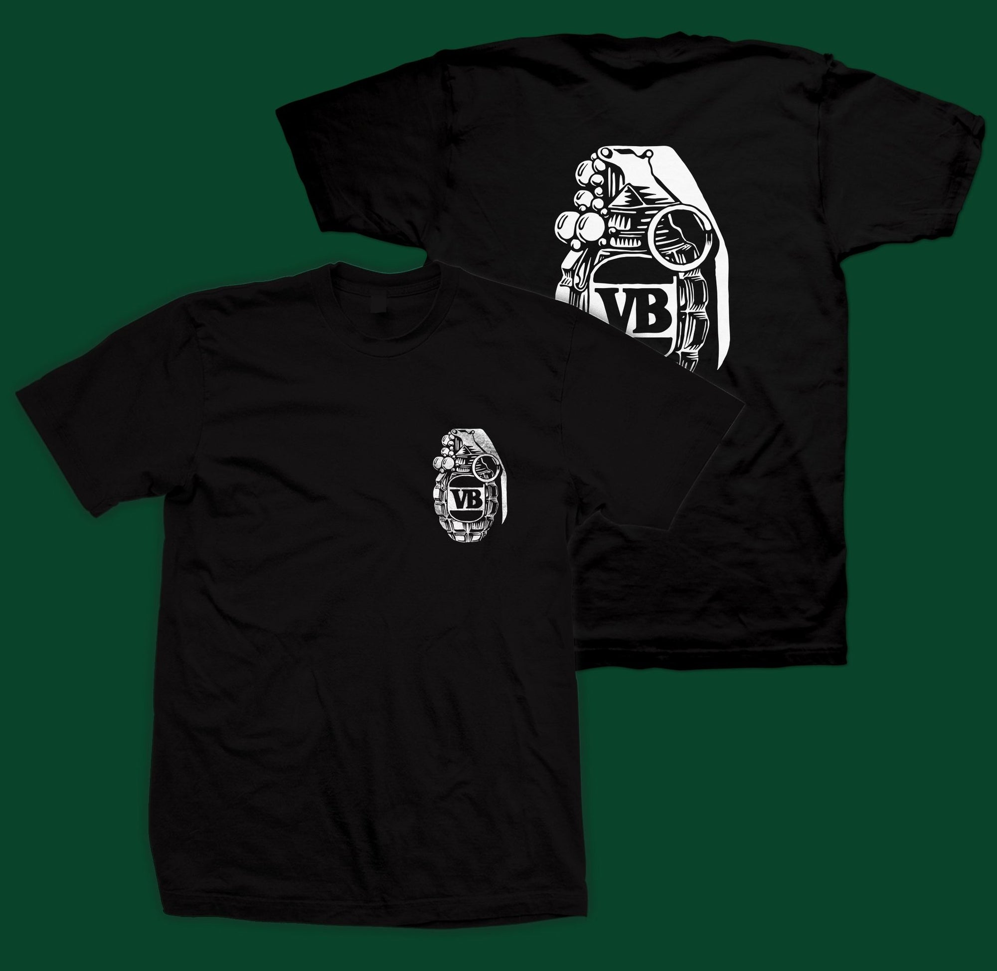 Victor Bravos Green Grenade T-Shirt - White on Black SP-ApparelTees-Mens Victor Bravo's
