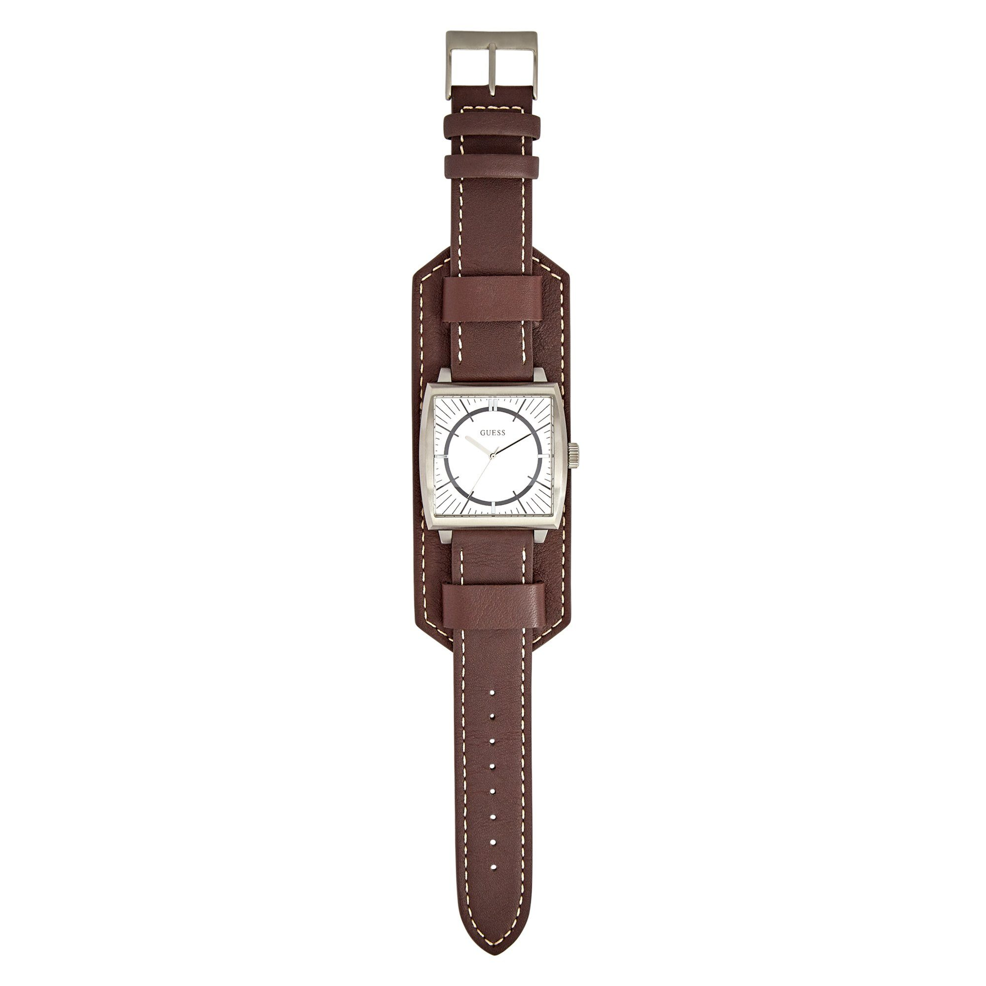 Guess Monarch Silver Brown Leather Cuff Watch Watches Isbister & Co Wholesale