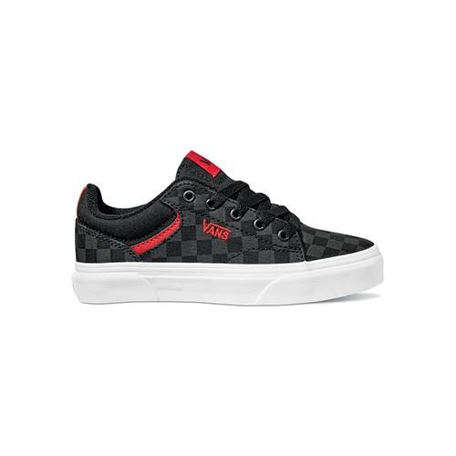 Vans Seldan Checkerboard Black Youth - Black/Black SP-Footwear-Kids Vans