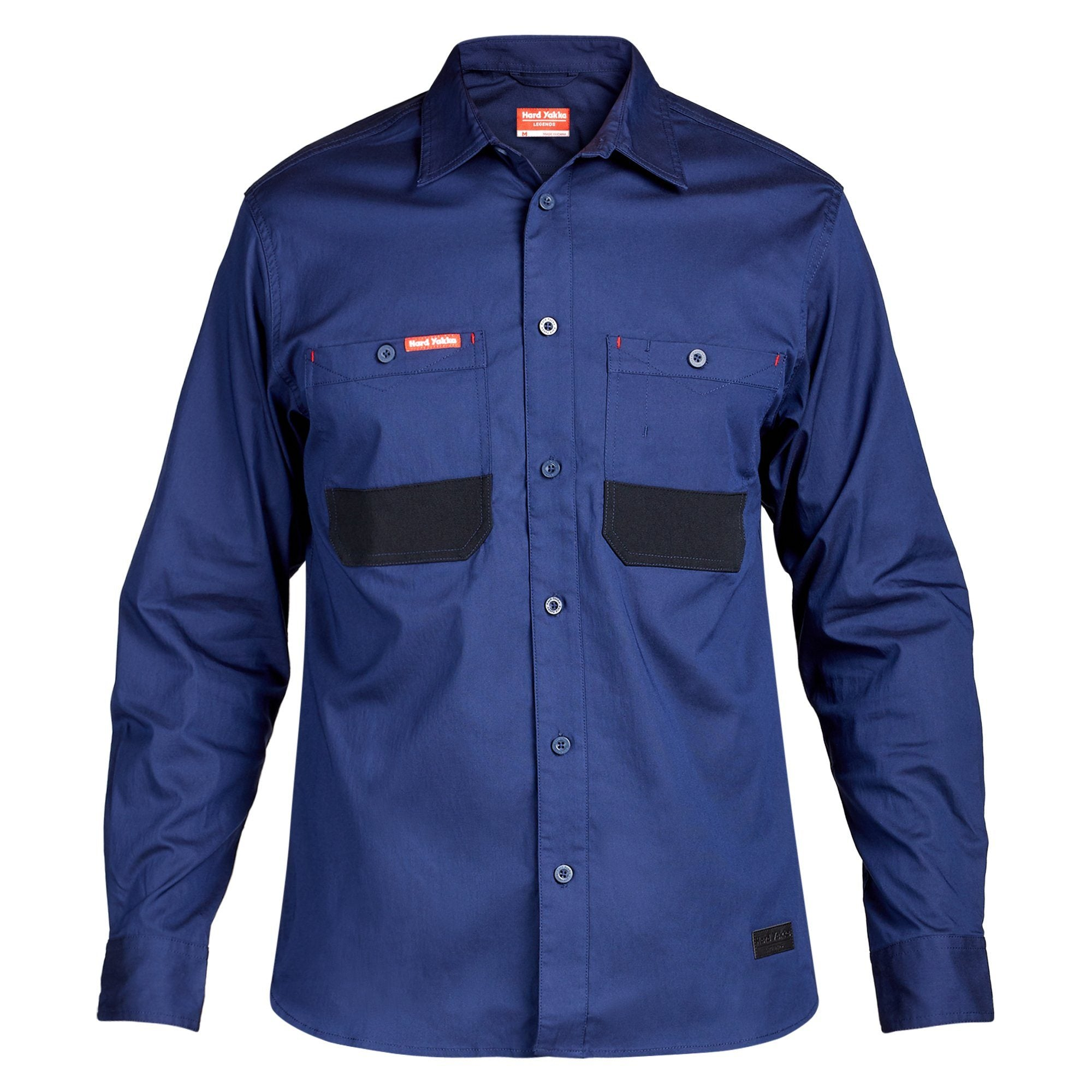 Hard Yakka Legends 3D Stretch LS Shirt - Navy/Black Workwear Isbister & Co