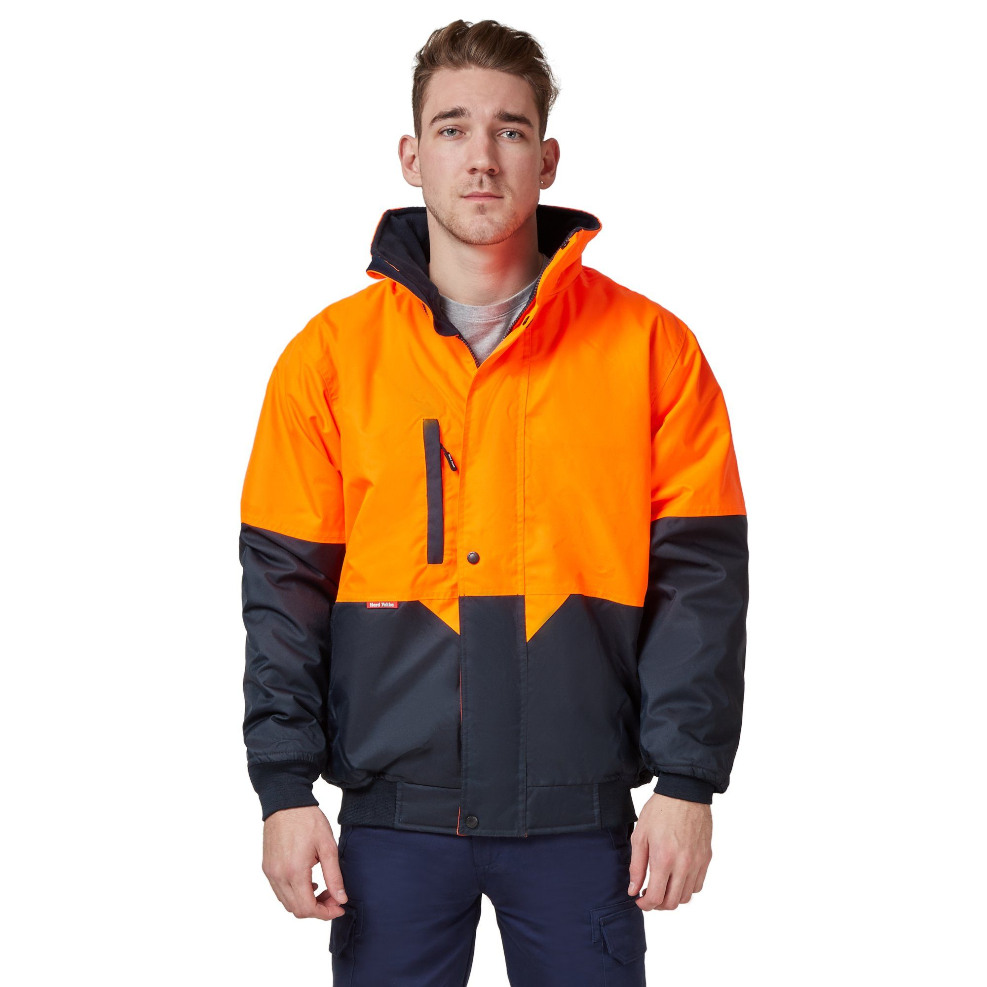 Hard Yakka Two Tone Quilted Pilot Jacket - Orange/Navy Workwear Isbister & Co Wholesale