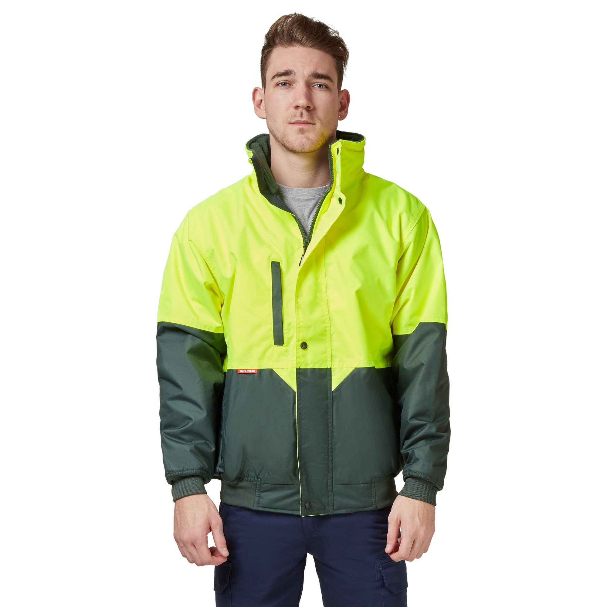Hard Yakka Two Tone Quilted Pilot Jacket - Yellow/Green Workwear Isbister & Co Wholesale