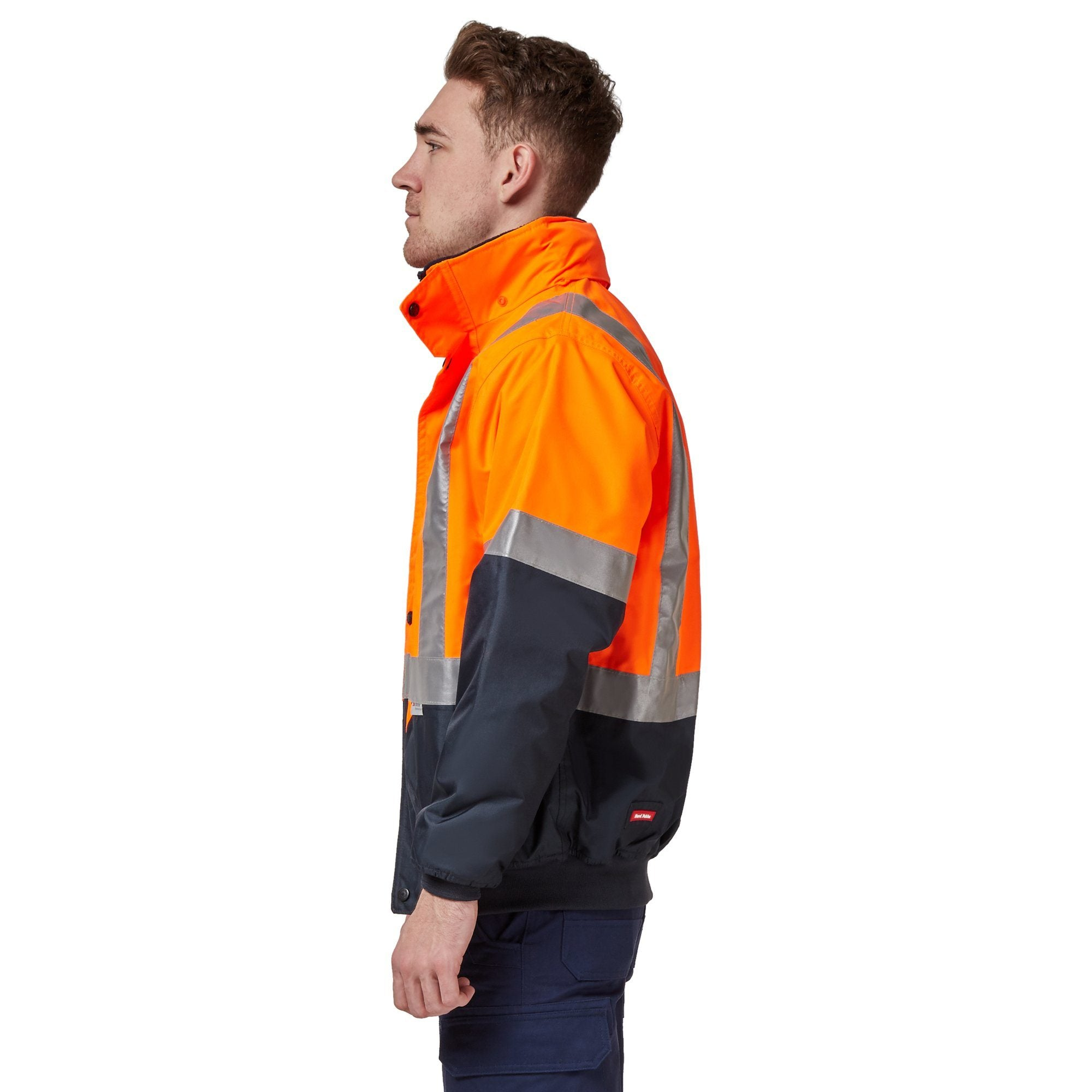 Hard Yakka Two Tone Quilted Flying Jacket - Orange/Navy Workwear Isbister & Co Wholesale