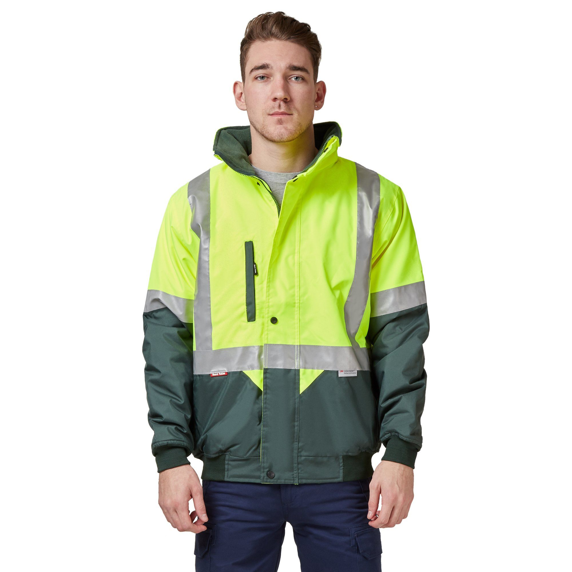 Hard Yakka Two Tone Quilted Flying Jacket - Yellow/Green Workwear Isbister & Co Wholesale