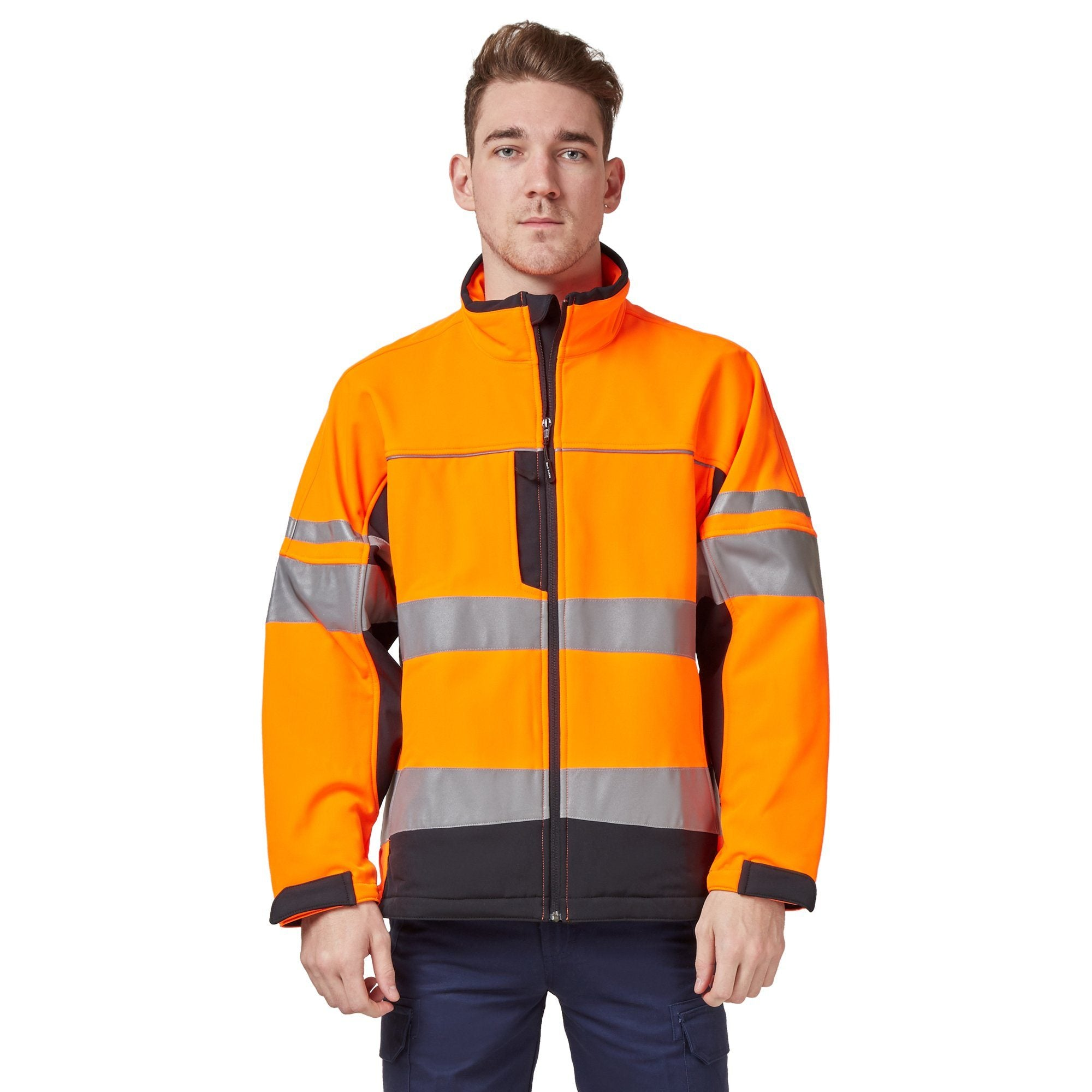 Hard Yakka Men's Hi-Vis Two-Tone Long Sleeve Soft Shell Jacket - Orange/Navy Workwear Isbister & Co Wholesale