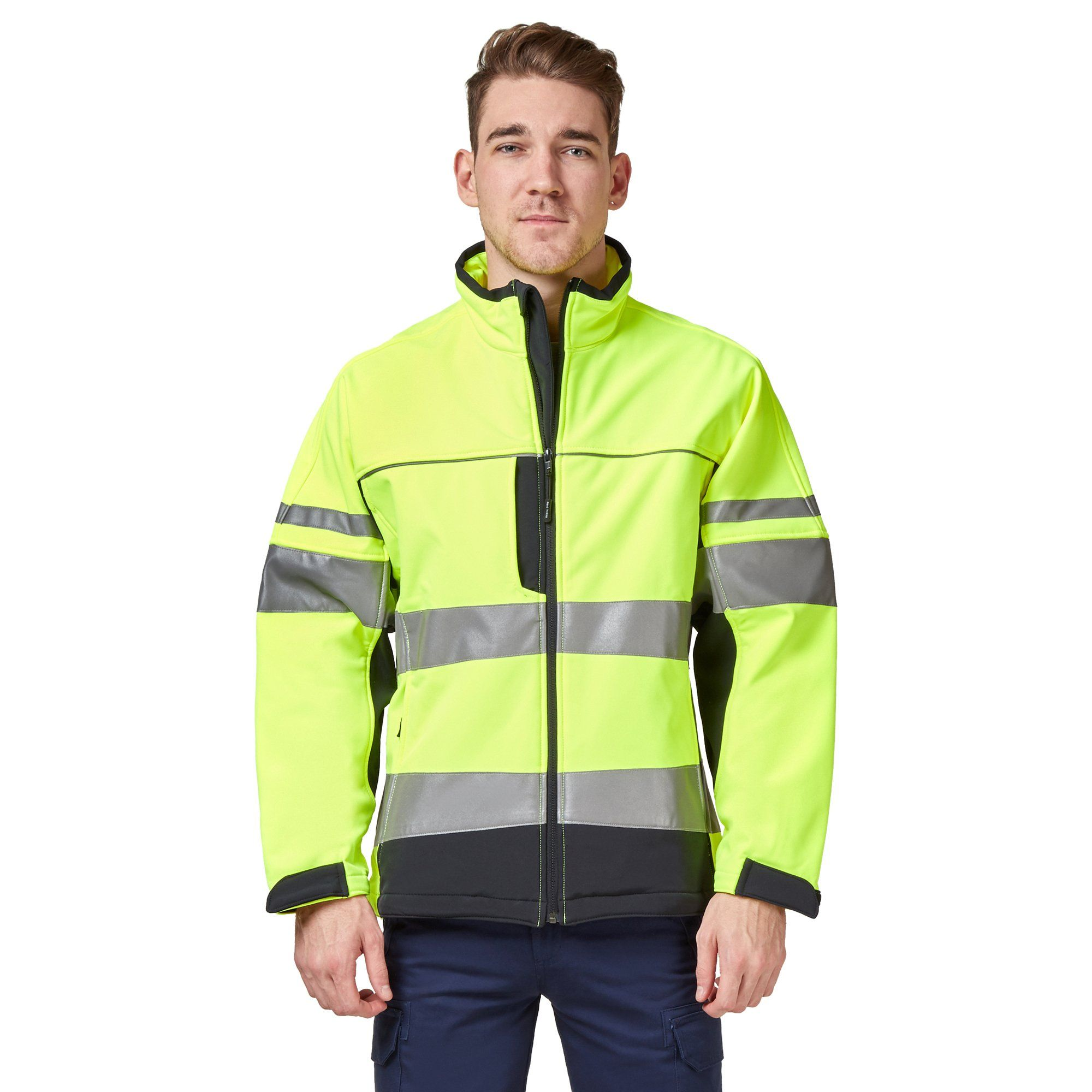 Hard Yakka Men's Hi-Vis Two-Tone Long Sleeve Soft Shell Jacket - Yellow/Navy Workwear Isbister & Co Wholesale