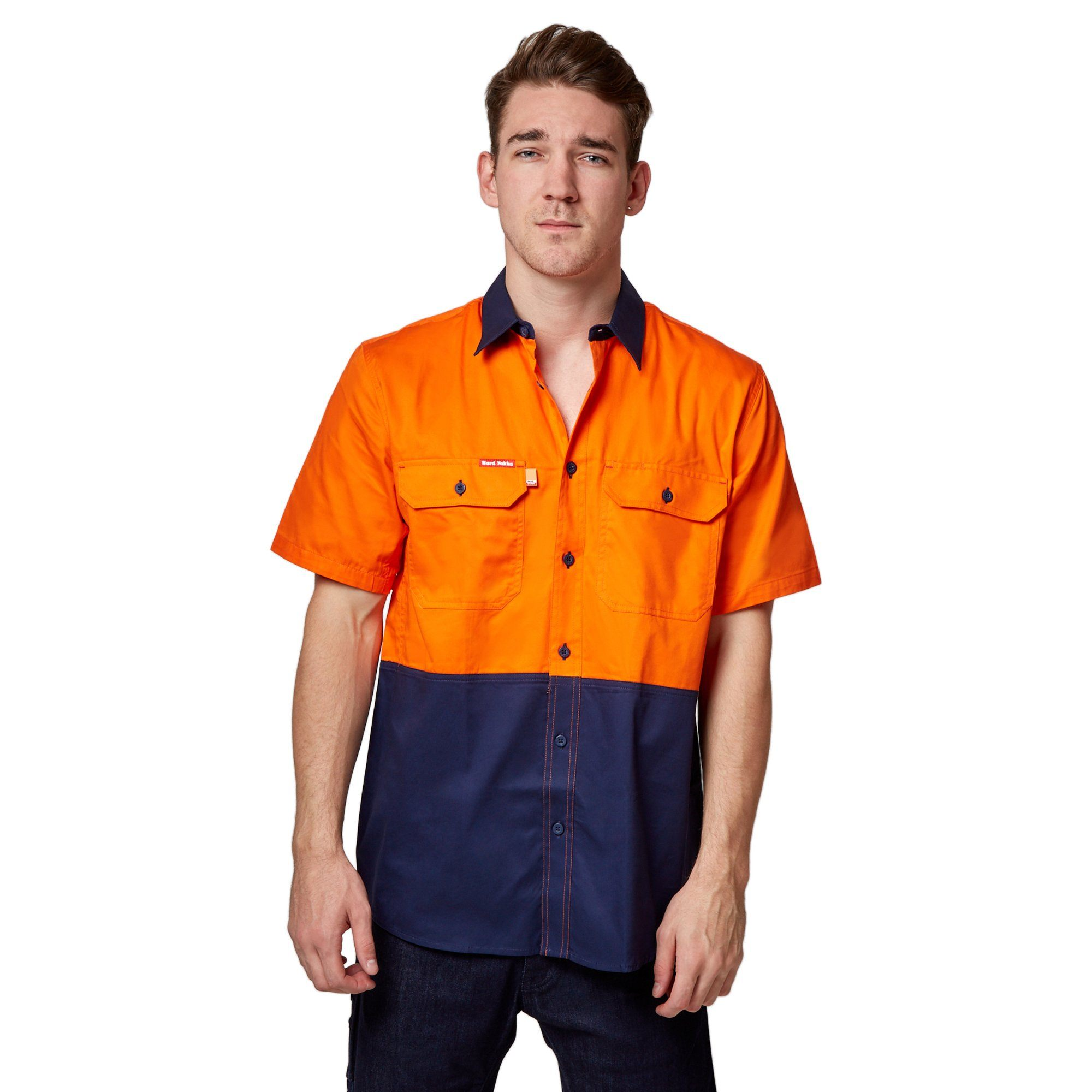 Hard Yakka Koolgear Ventilated Short Sleeve High-Vis Shirt - Orange/Navy Workwear Isbister & Co Wholesale