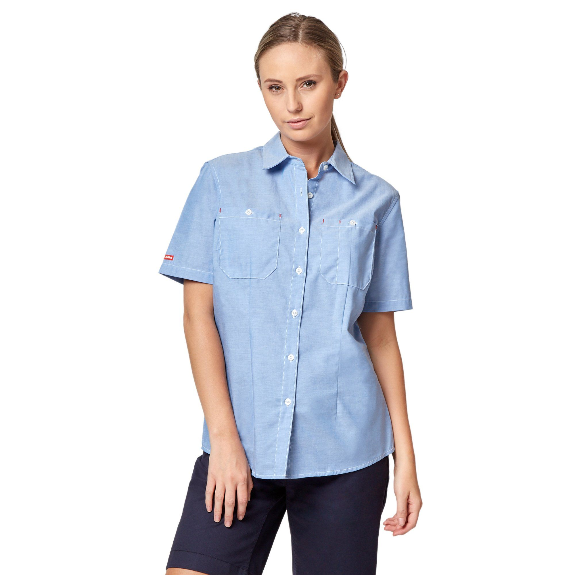 Hard Yakka Womens Foundations Short Sleeve Chambray Shirt - Blue Workwear Hard Yakka