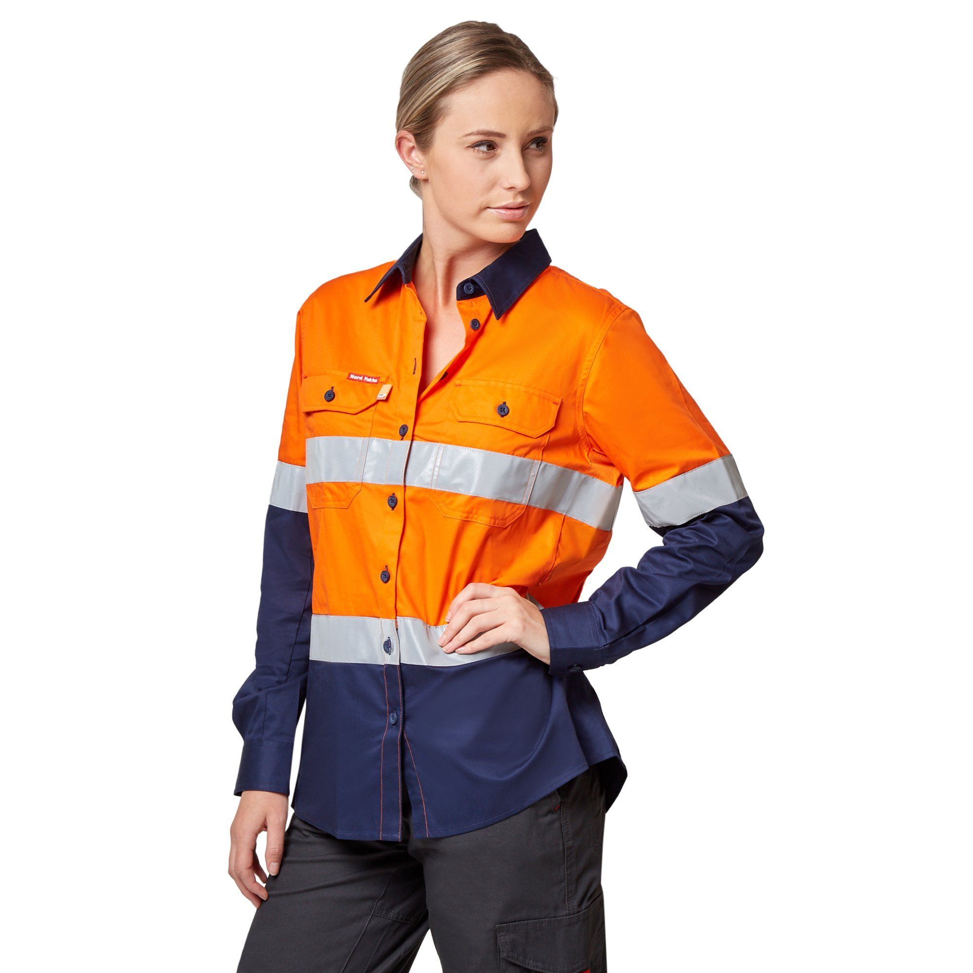 Hard Yakka Hi-Visibility Ventilated Long Sleeve Shirt with Tape - Orange/Navy Workwear Hard Yakka