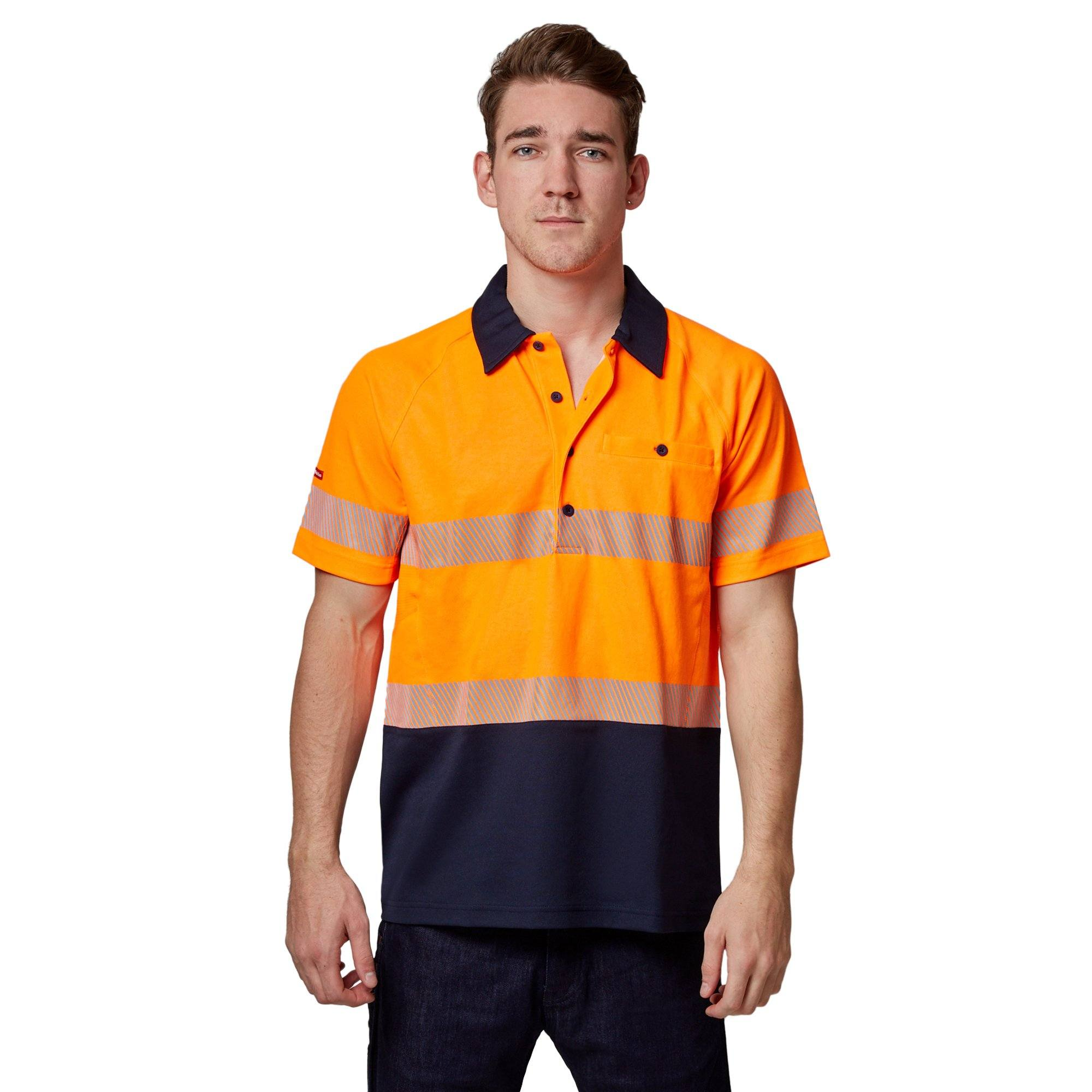 Hard Yakka High-Vis 2Tone Short Sleeve Ventilated Polo - Orange Workwear Isbister & Co Wholesale