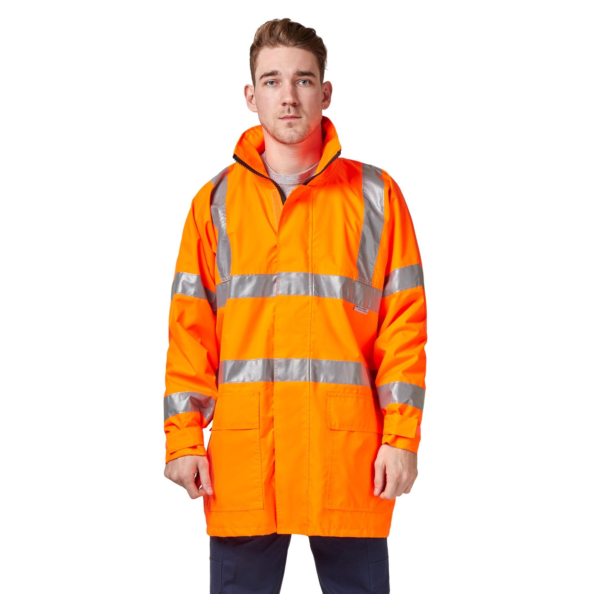Hard Yakka High Vis Jacket with Reflective Tape Workwear Isbister & Co Wholesale