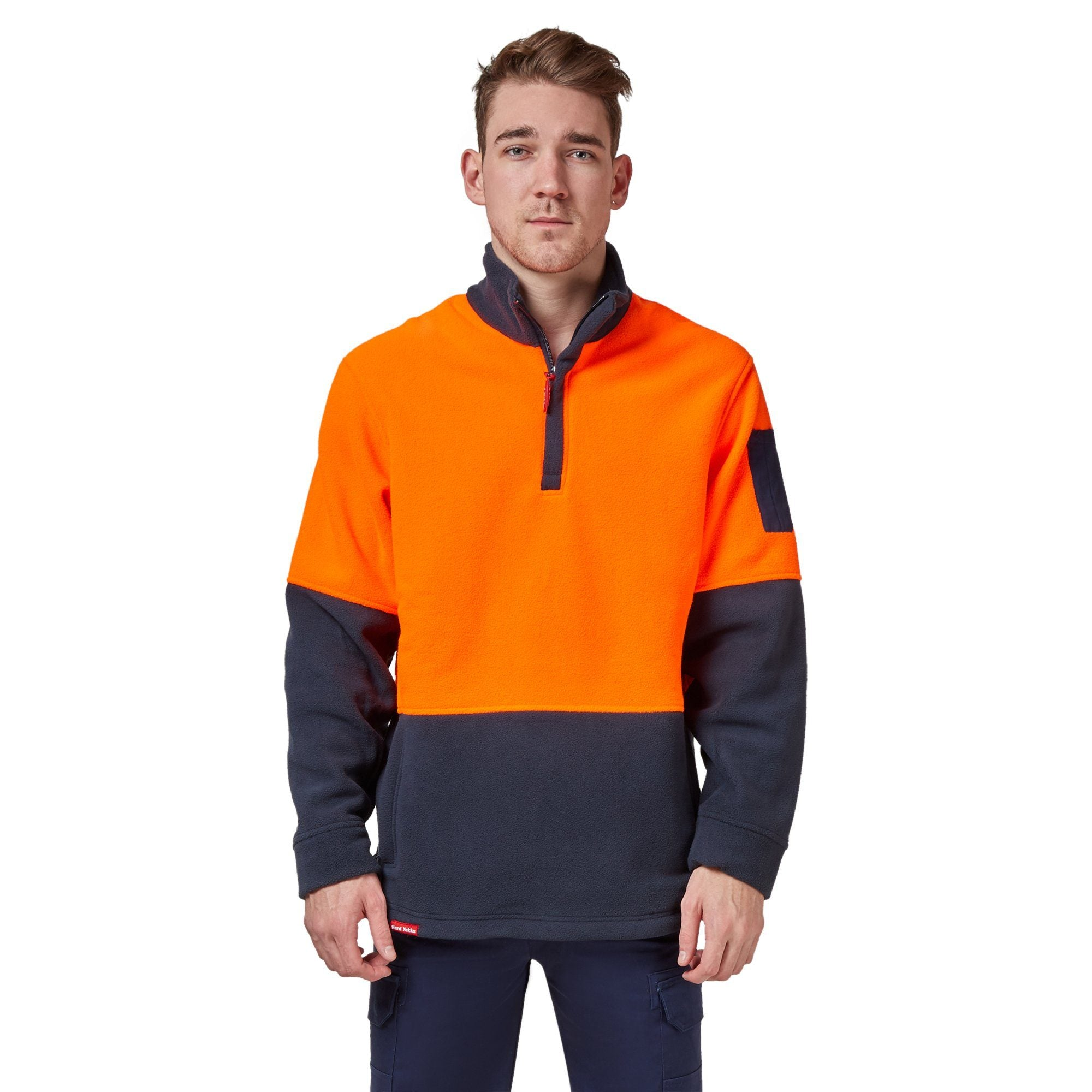 Hard Yakka Y19314-Hi-Vis Two Tone Polar Fleece ¼ Zip Jumper - Orange/Navy Workwear Isbister & Co Wholesale