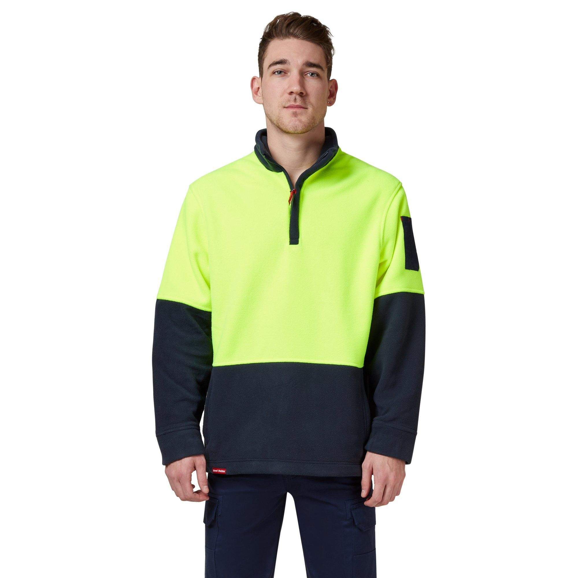 Hard Yakka Y19314-Hi-Vis Two Tone Polar Fleece ¼ Zip Jumper - Yellow/Navy Workwear Isbister & Co Wholesale