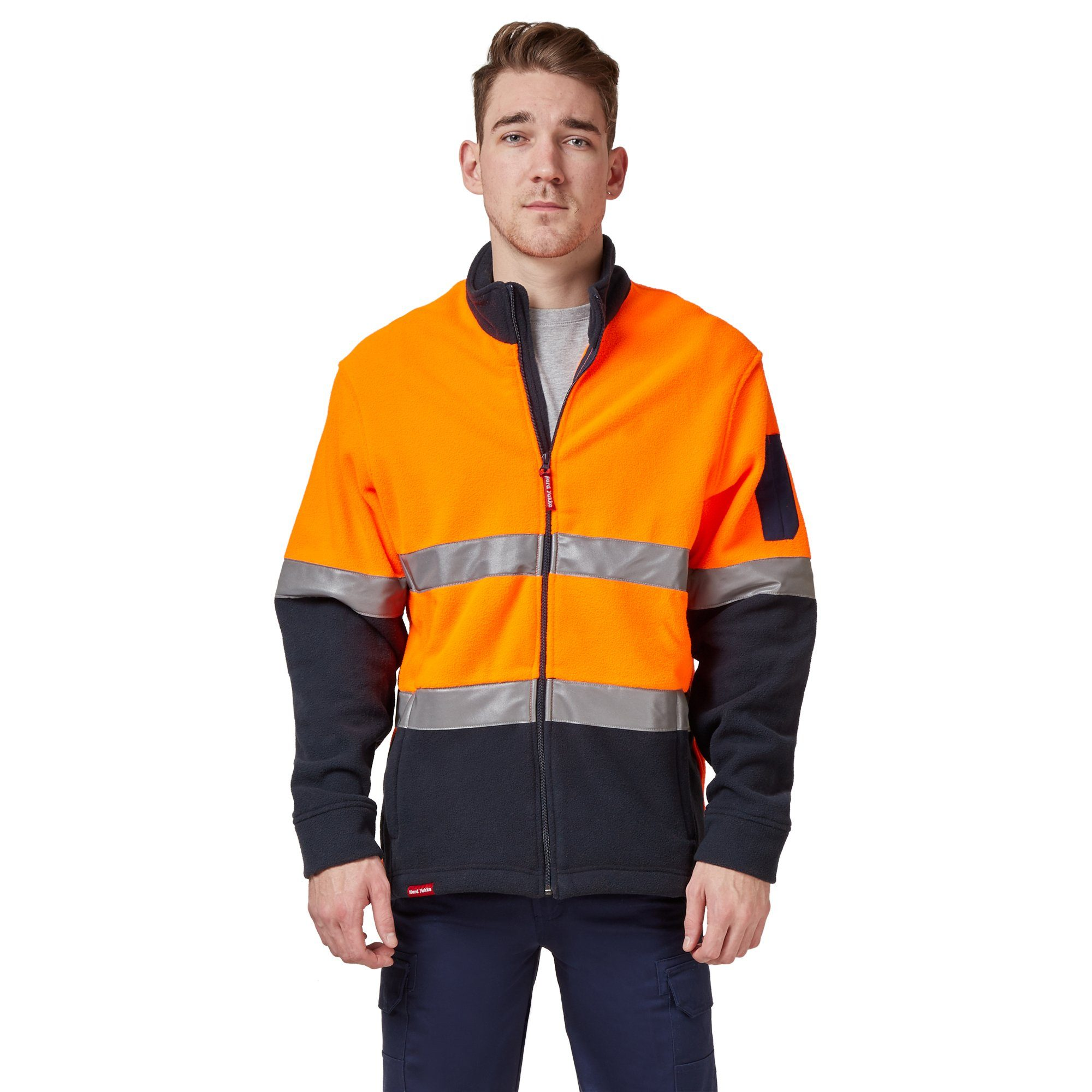 Hard Yakka Men's Hi-Vis Polar Fleece Jumper With Tape - Orange/Navy Workwear Isbister & Co Wholesale