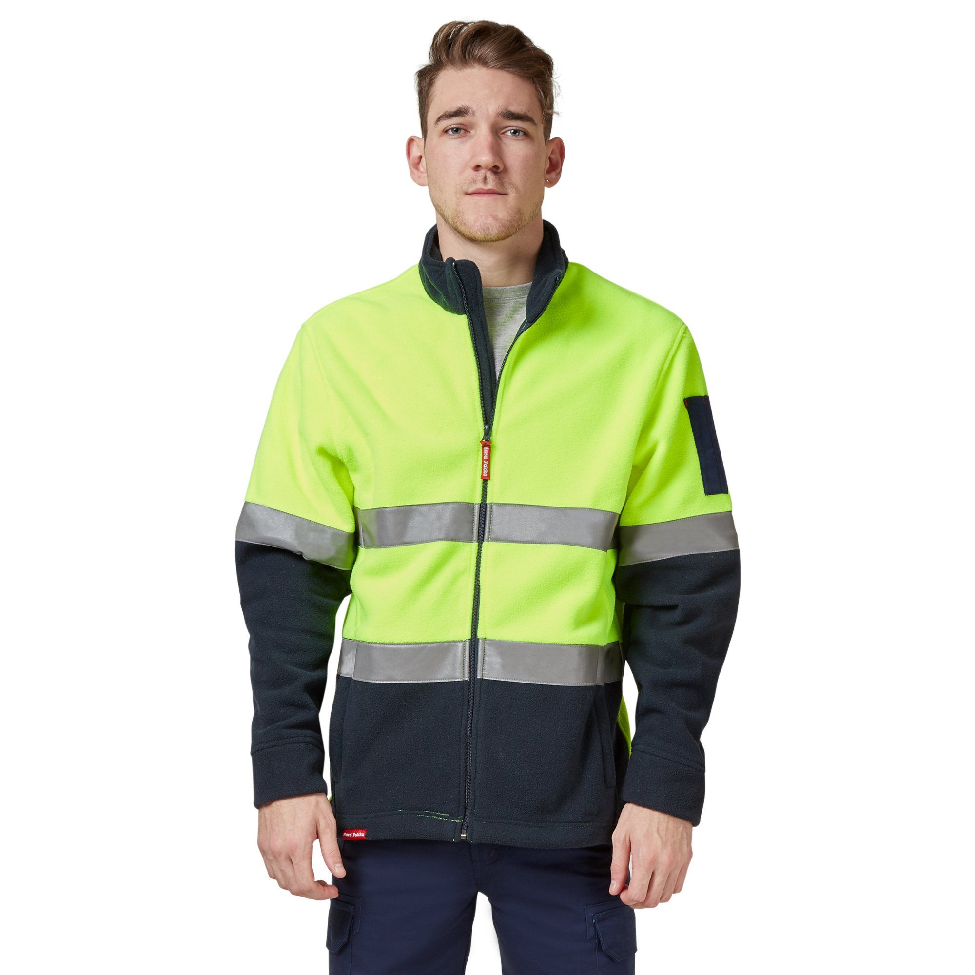 Hard Yakka Men's Hi-Vis Polar Fleece Jumper With Tape - Yellow/Navy Workwear Isbister & Co Wholesale