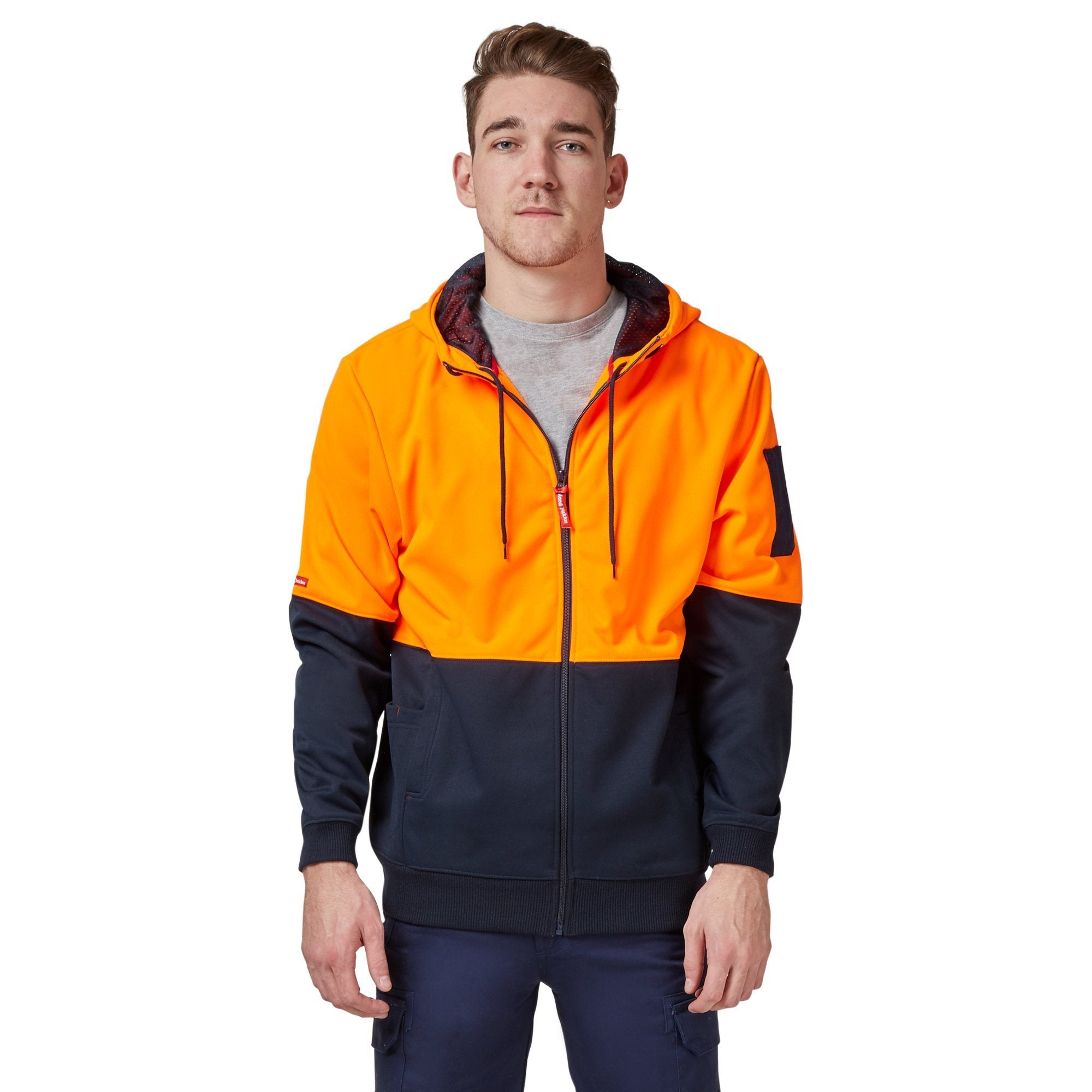Hard Yakka Y19327 Hi-Vis Two Tone Brushed Fleece Full Zip Hoodie - Orange/Navy Workwear Isbister & Co Wholesale