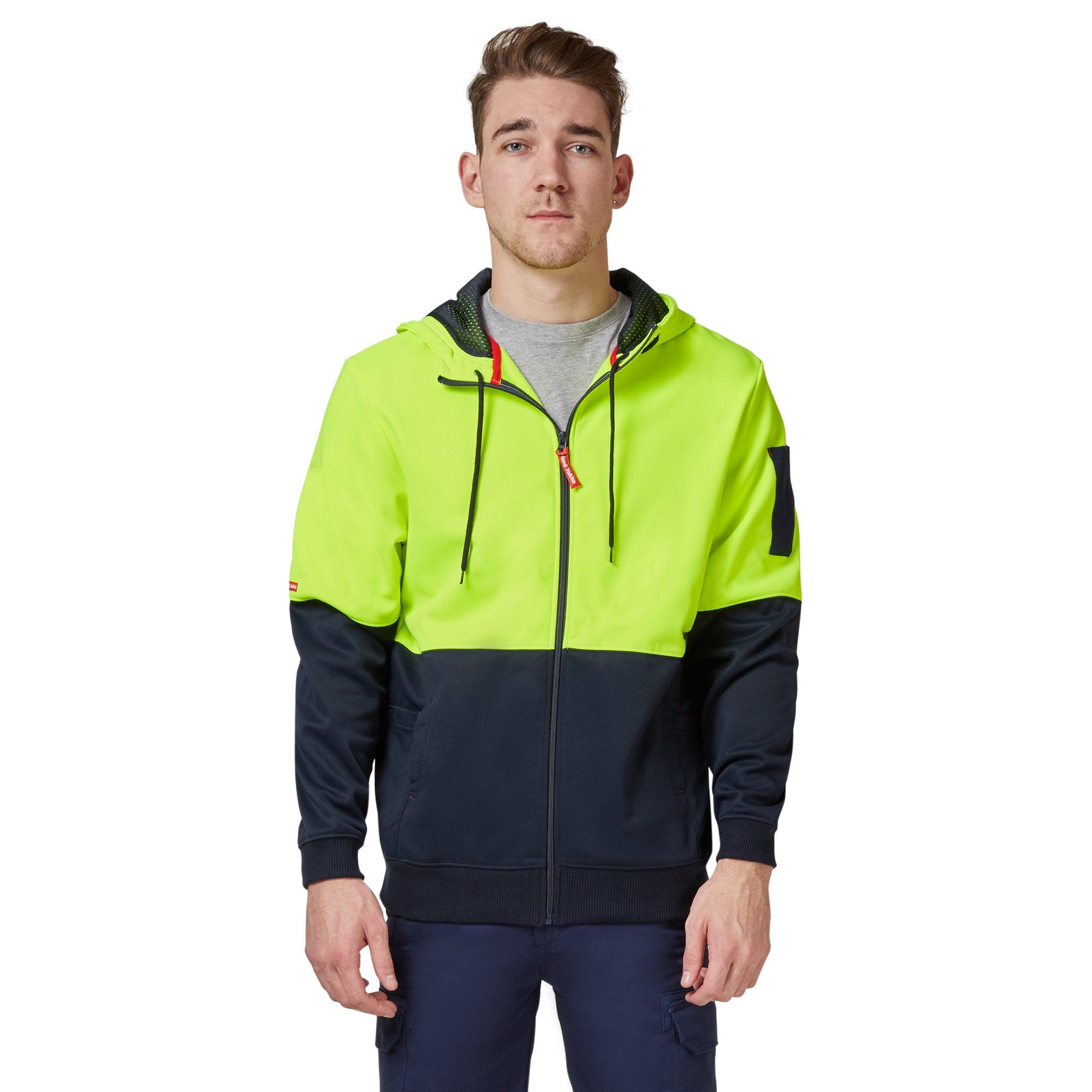 Hard Yakka Y19327 Hi-Vis Two Tone Brushed Fleece Full Zip Hoodie - Yellow/Navy Workwear Isbister & Co Wholesale